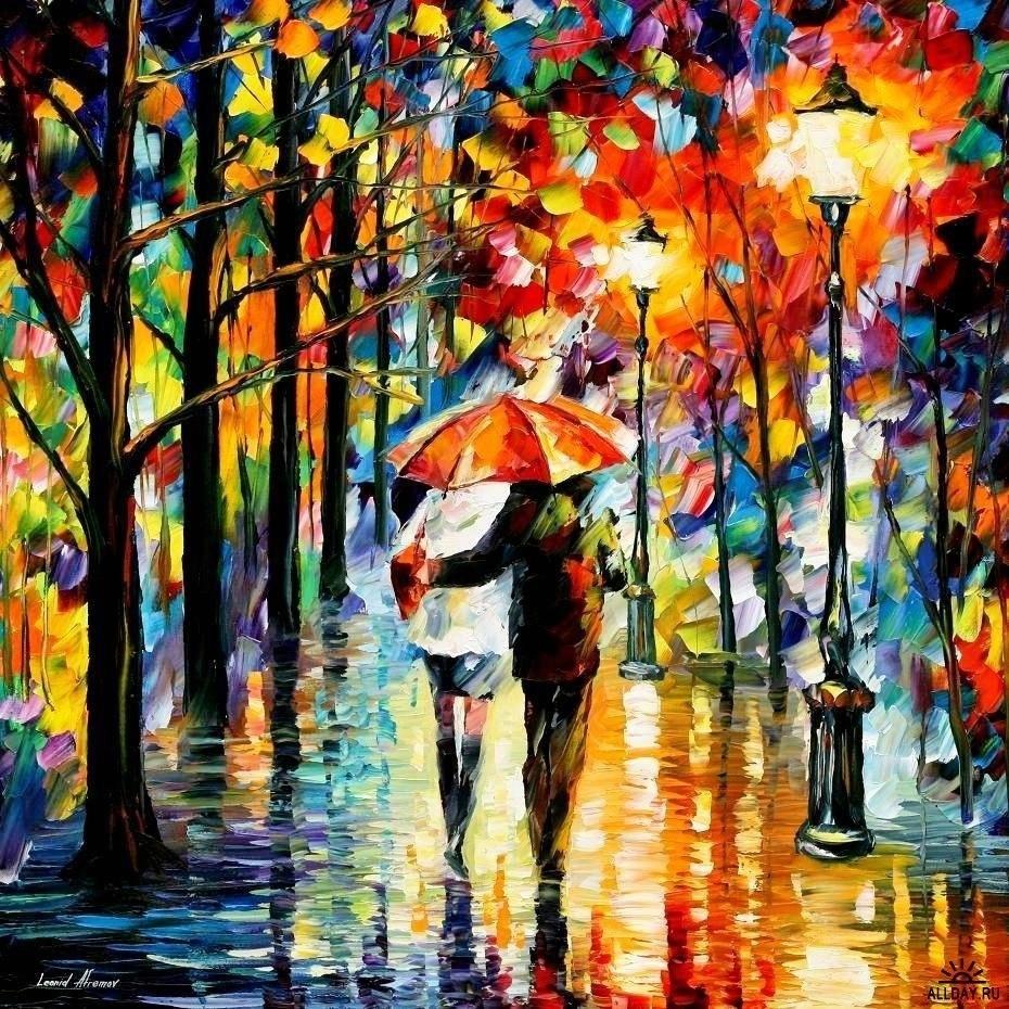 22749 скачать обои Люди, Рисунки, Улицы, Пейзаж, Деревья, Дождь, Ночь - заставки и картинки бесплатно