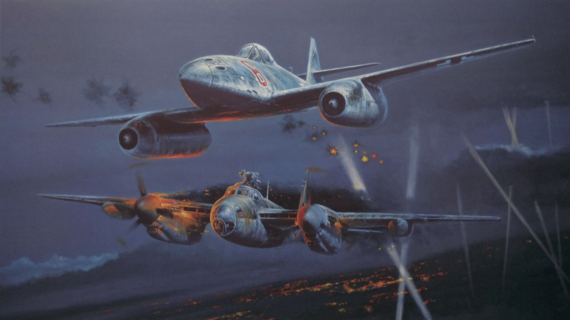 80266 baixar papel de parede Guerra, Arte, Messerschmitt Me 262, Mosquito De Havilland, Lutador Noturno, Ww2, 2ª Guerra Mundial - protetores de tela e imagens gratuitamente