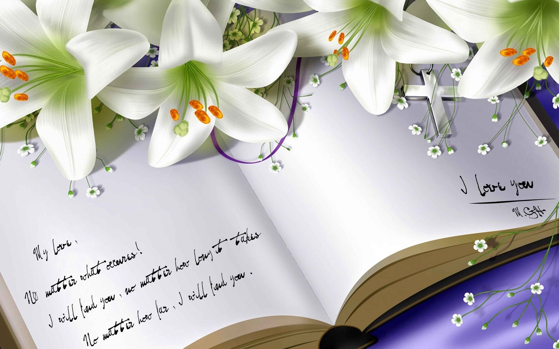 124371 download wallpaper Flowers, Lilies, Miscellanea, Miscellaneous, Book, Notebook screensavers and pictures for free