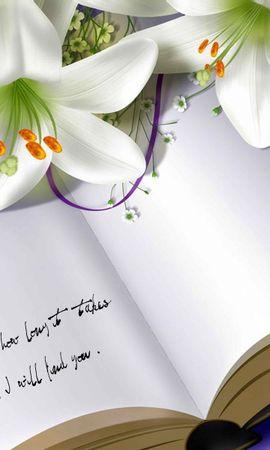 124371 скачать обои Разное, Книга, Тетрадь, Лилии, Цветы - заставки и картинки бесплатно
