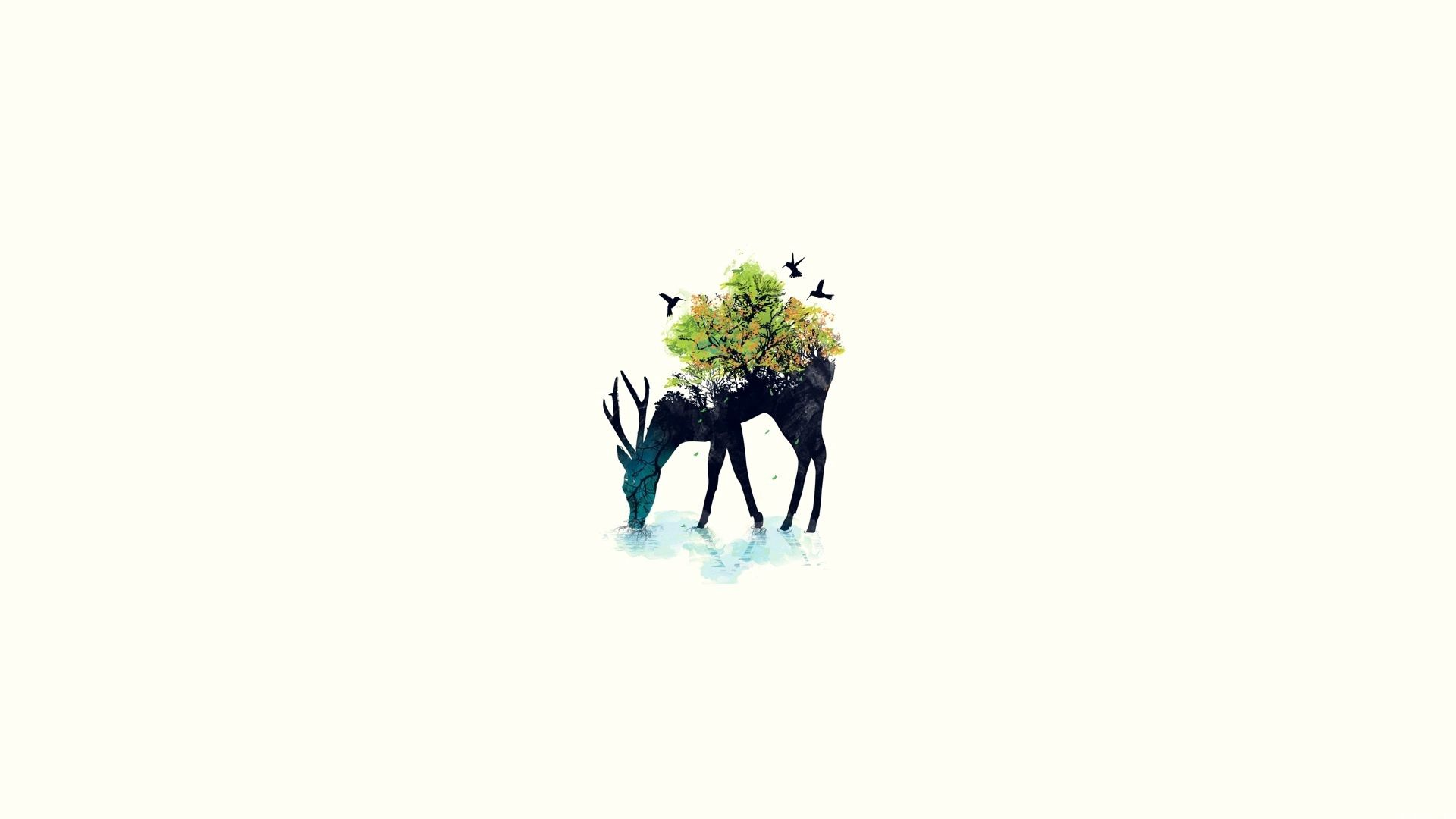 96216 download wallpaper Minimalism, Deer, Vector, Background, Nature screensavers and pictures for free