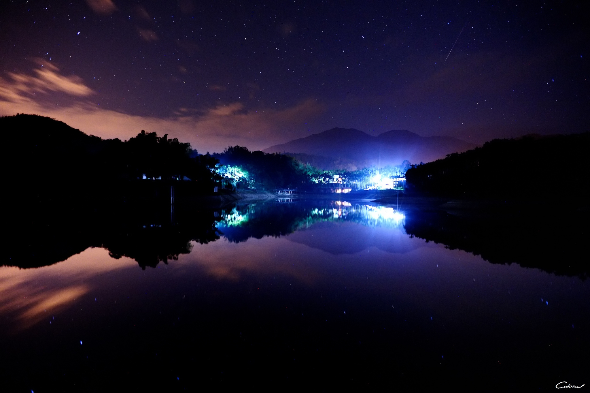 54637 Screensavers and Wallpapers Houses for phone. Download Nature, Lake, Town, Lights, Houses, Night, Stars pictures for free