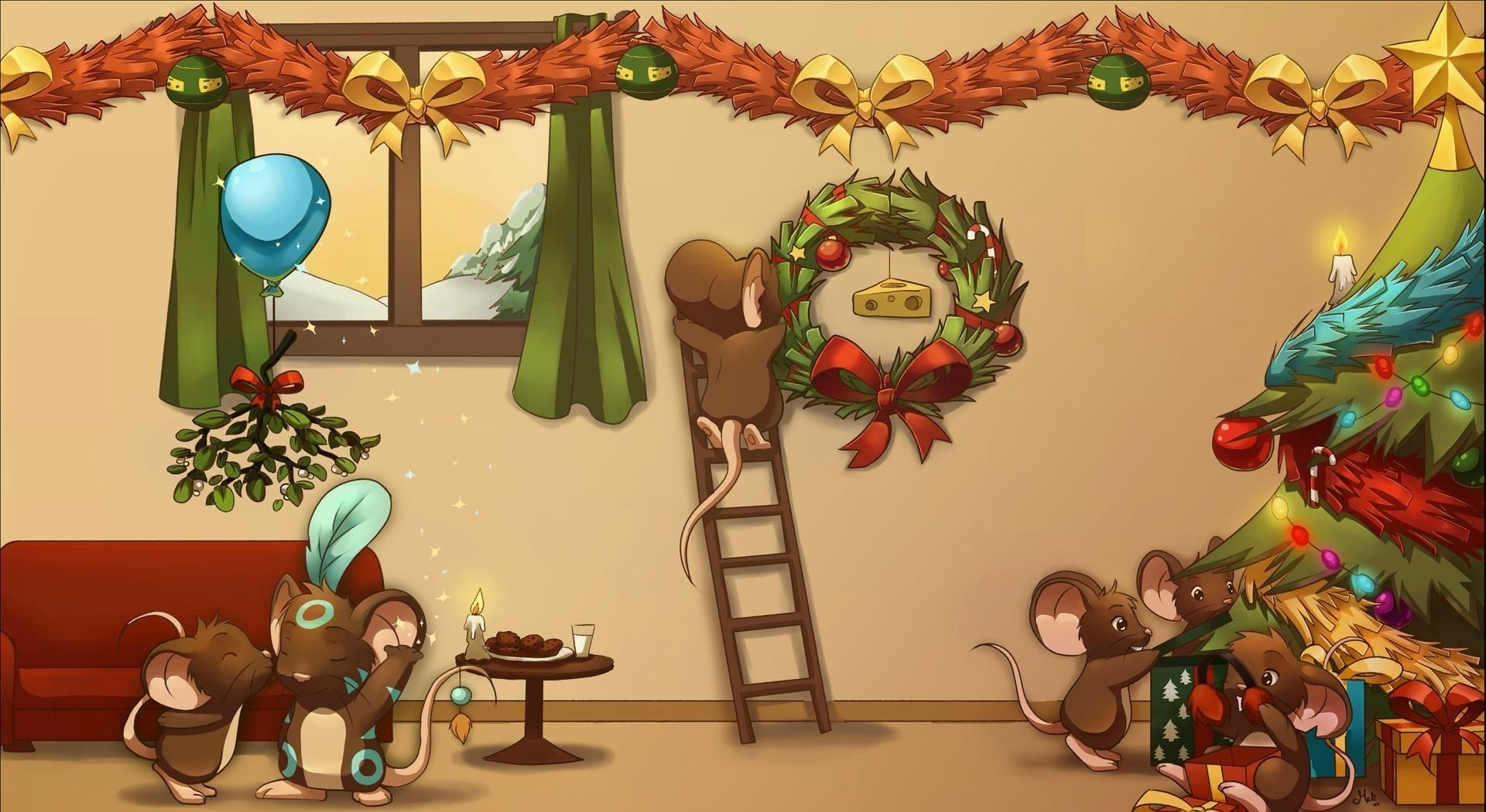 127925 download wallpaper Holidays, New Year, Christmas, Holiday, Vanity, Decorations, Christmas Tree, Cartoon, Mice screensavers and pictures for free