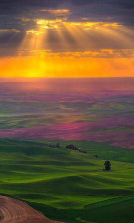 153165 Заставки и Обои Поля на телефон. Скачать Природа, Равнина, Дорога, Поля, Зелень, Небо, Свет, Облака, Солнце картинки бесплатно