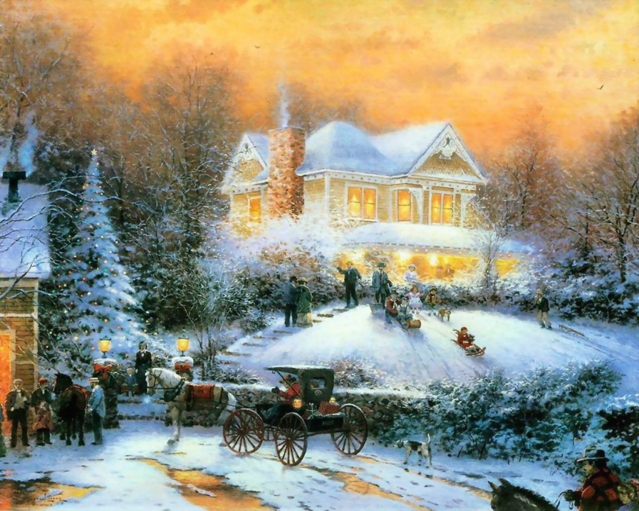 1022 download wallpaper Landscape, Winter, Houses, Snow, Pictures screensavers and pictures for free