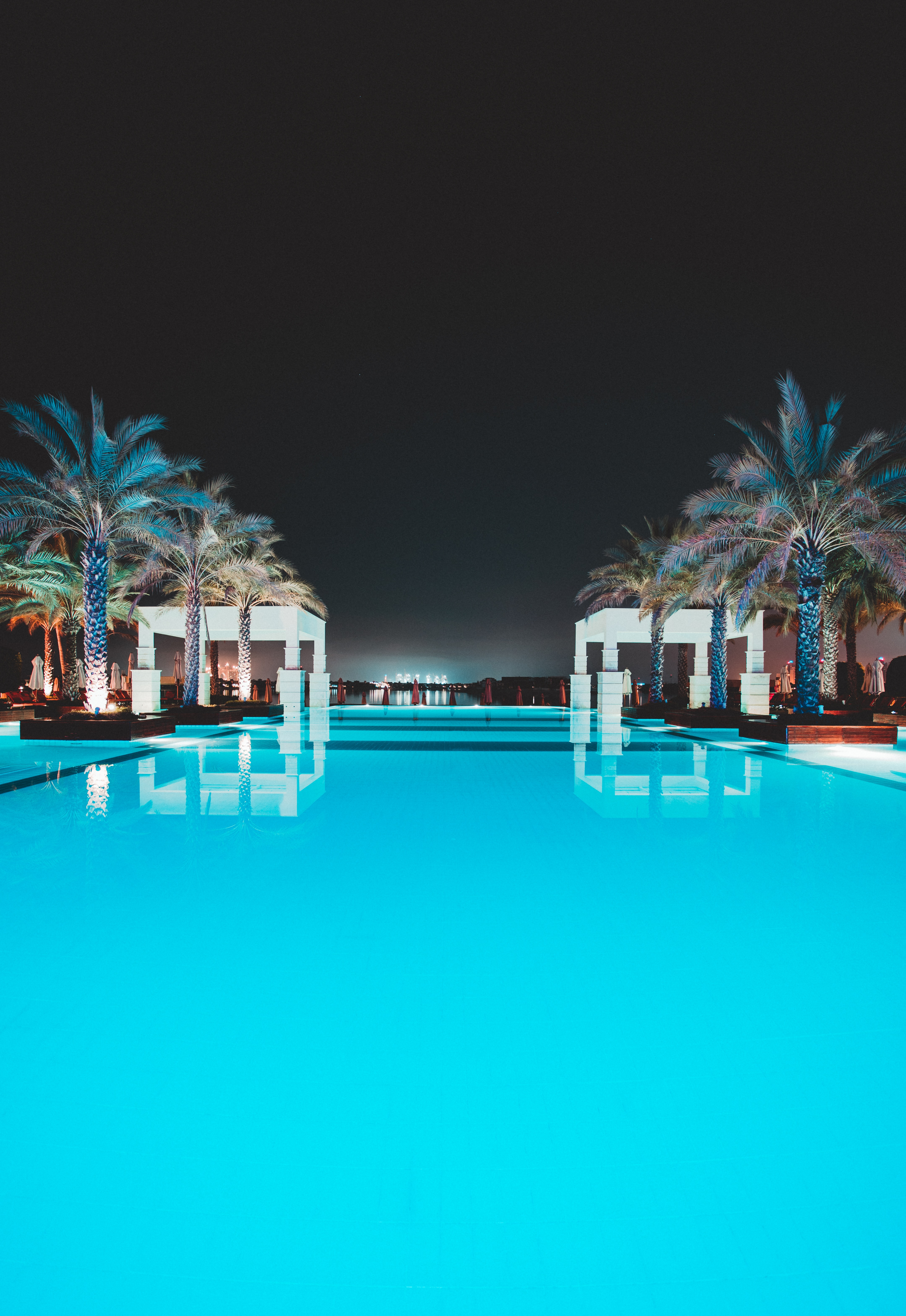 77192 download wallpaper Water, Palms, Miscellanea, Miscellaneous, Relaxation, Rest, Pool, Suite, Lux screensavers and pictures for free