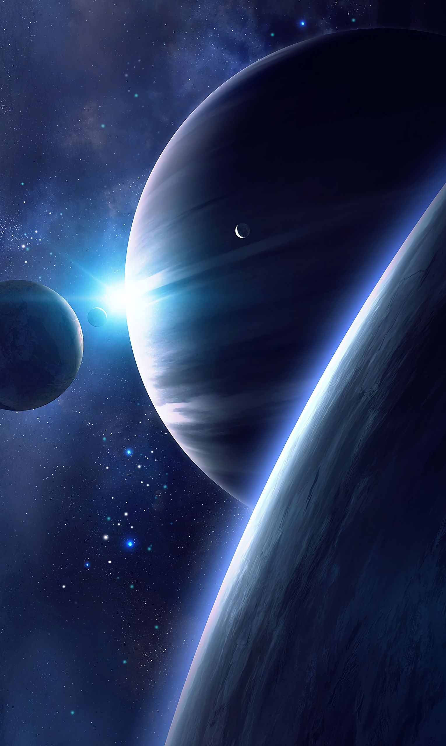108938 download wallpaper Universe, Planets, Stars, Shine, Brilliance, Satellite screensavers and pictures for free