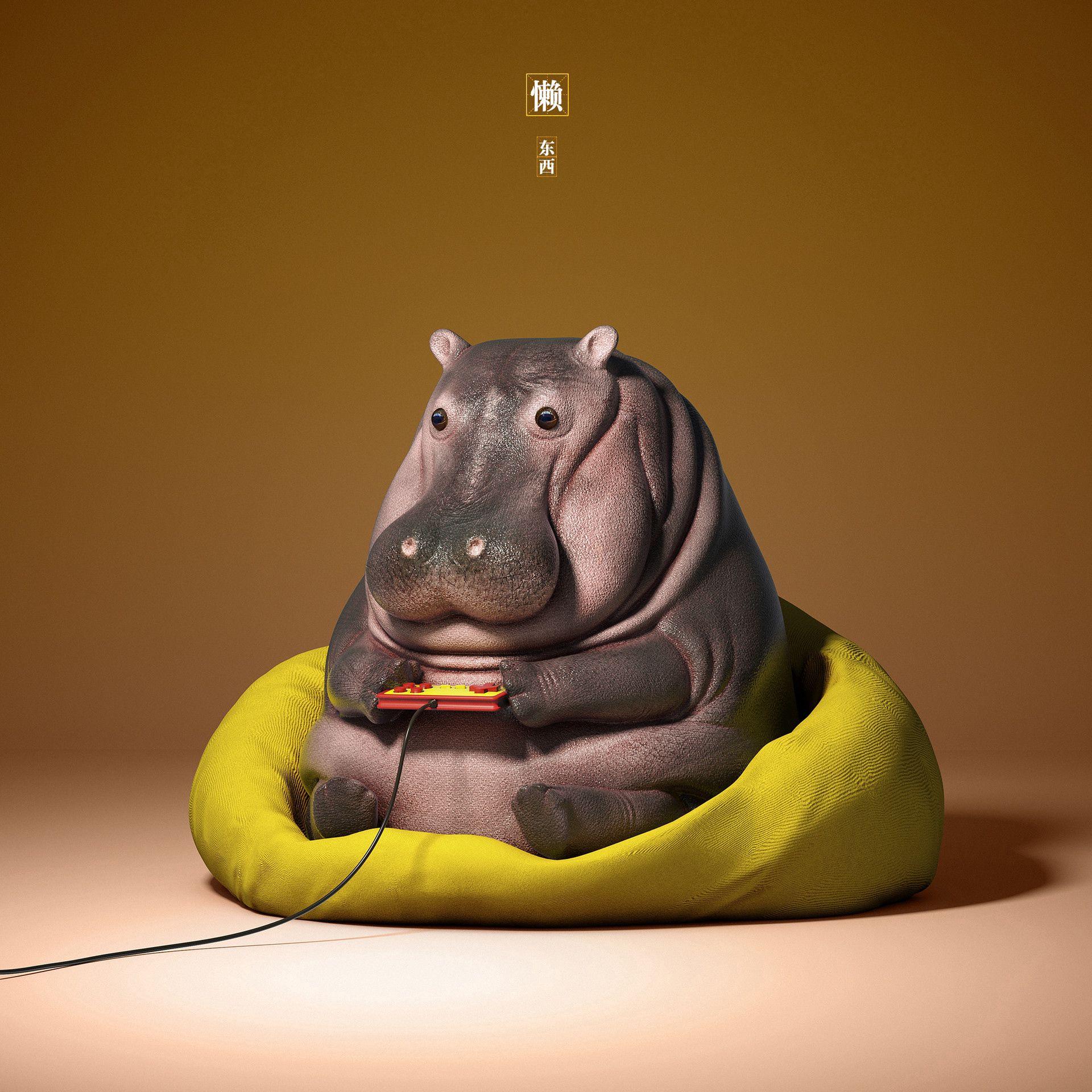 56301 download wallpaper Funny, 3D, Art, Hippopotamus, Joystick screensavers and pictures for free