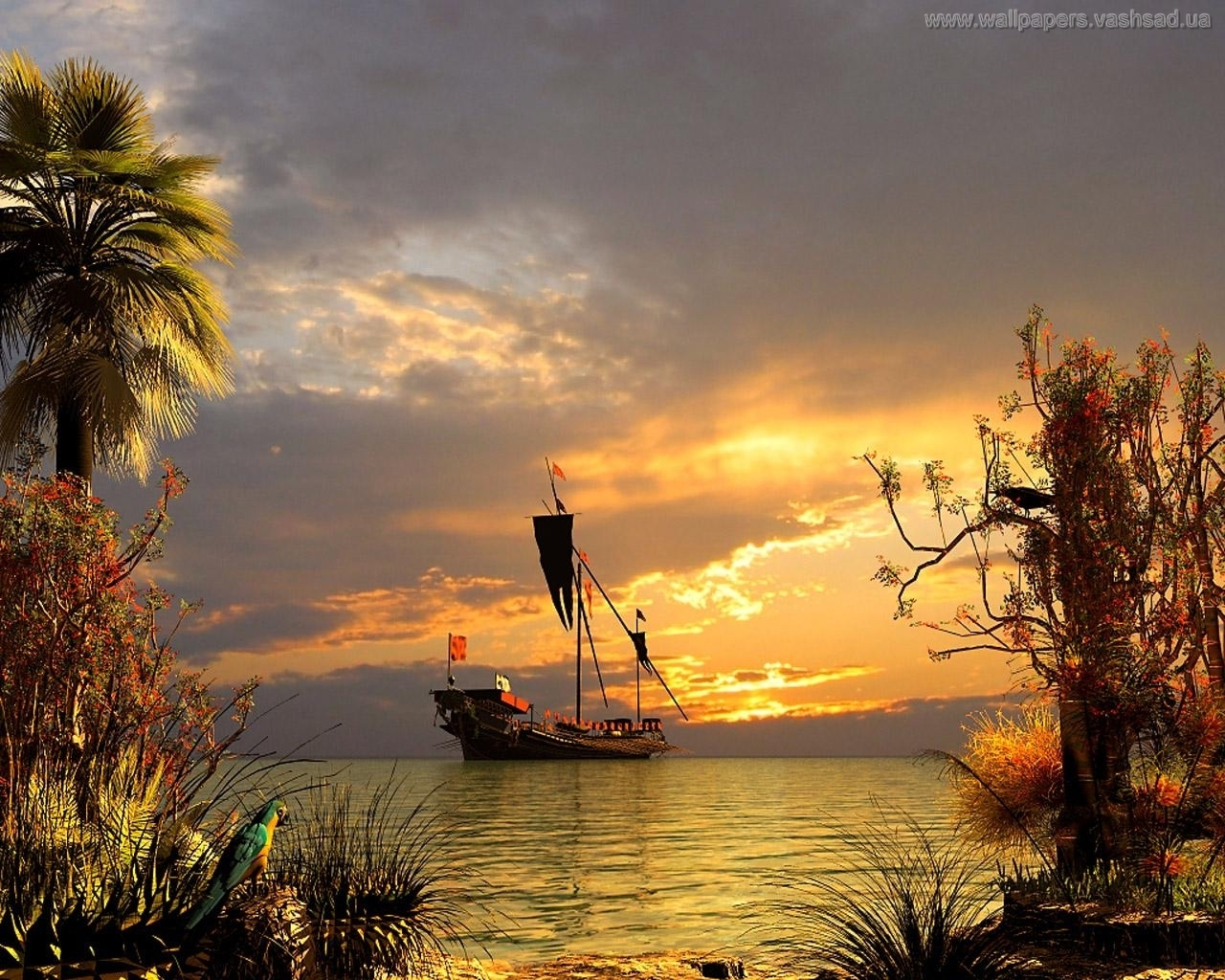 2958 download wallpaper Transport, Landscape, Water, Sky, Art, Ships screensavers and pictures for free
