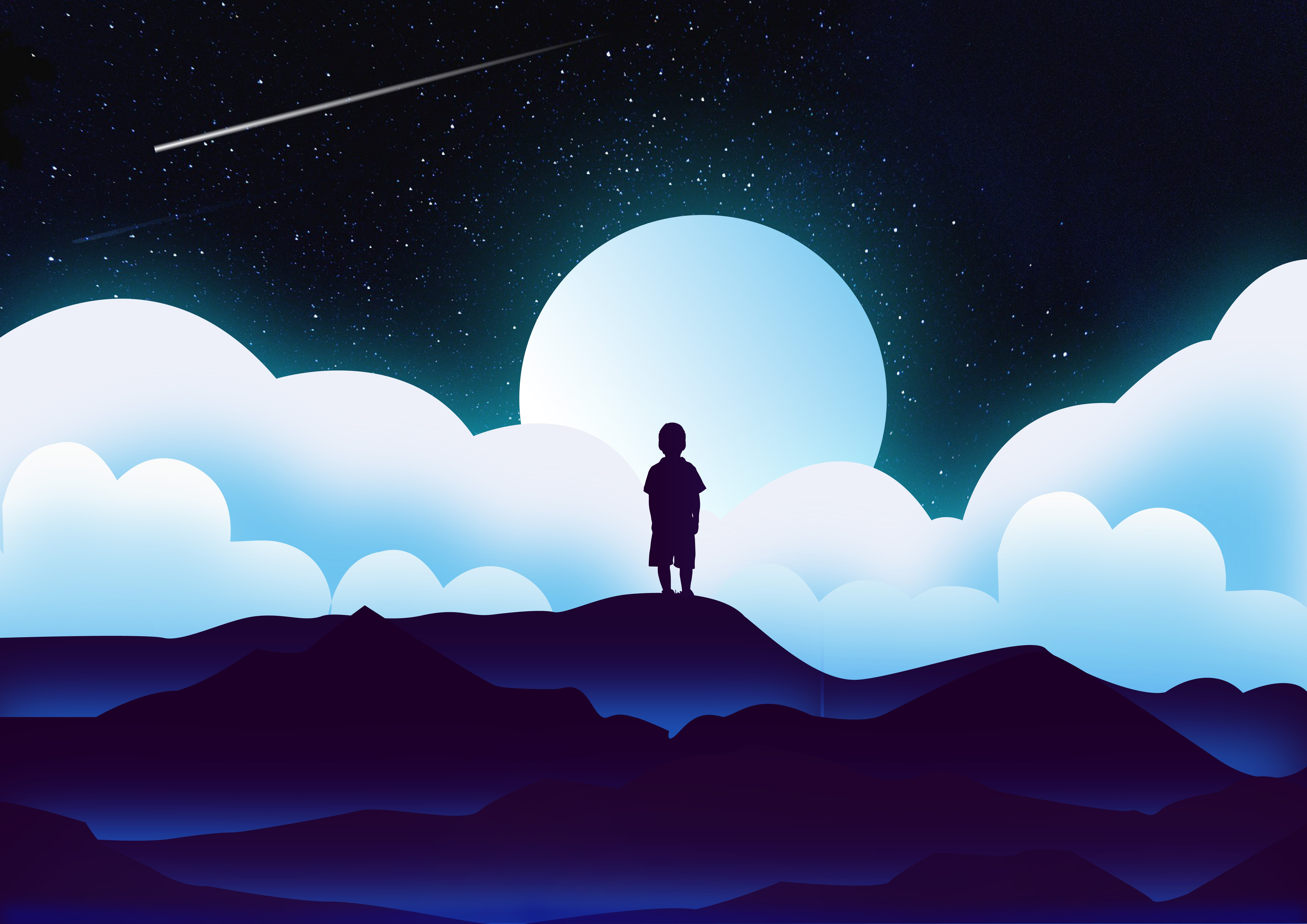 93674 Screensavers and Wallpapers Moon for phone. Download Vector, Child, Silhouette, Universe, Clouds, Moon pictures for free