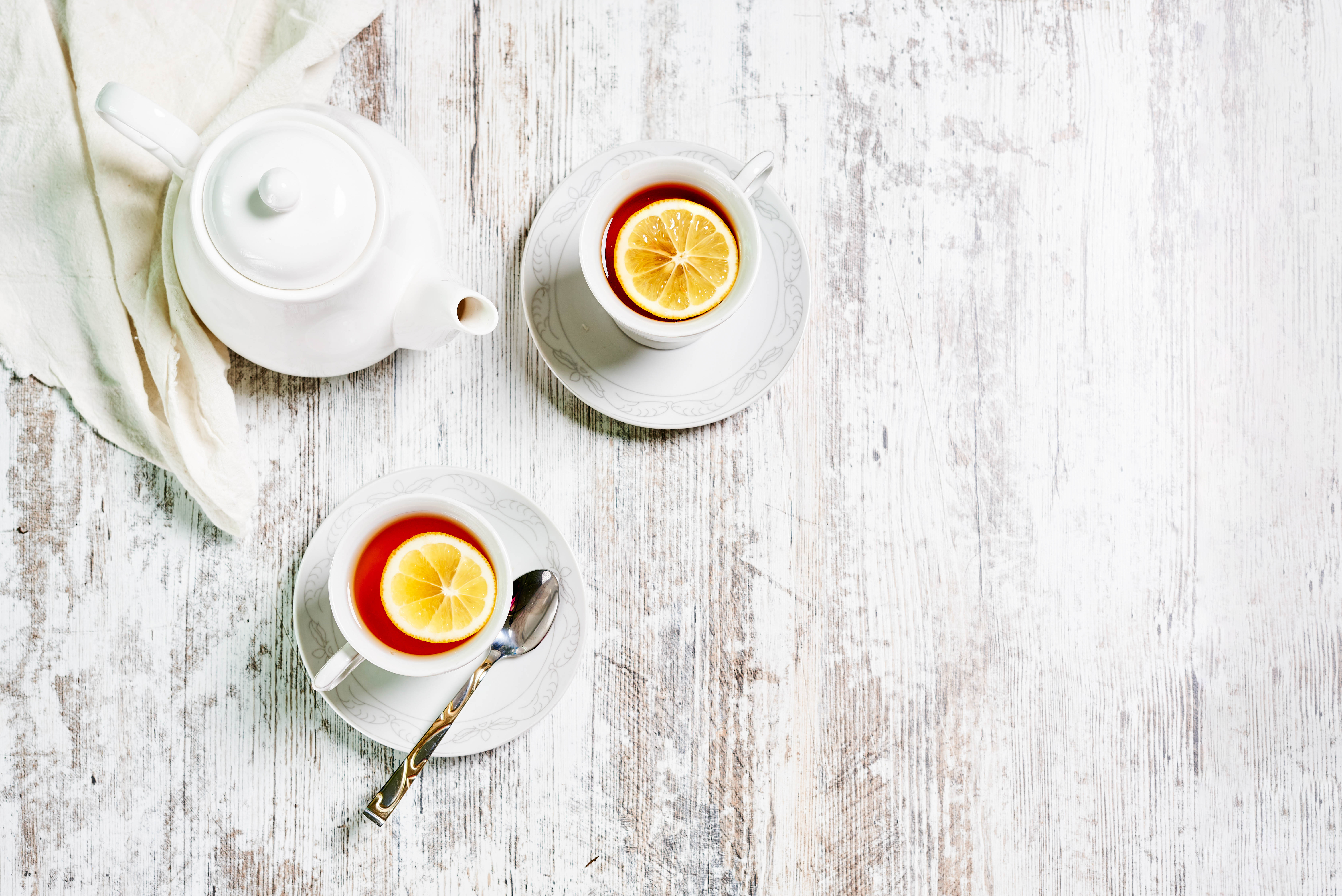 132464 download wallpaper Food, Cups, Lemon, Drink, Beverage, Tea, Teapot, Kettle screensavers and pictures for free