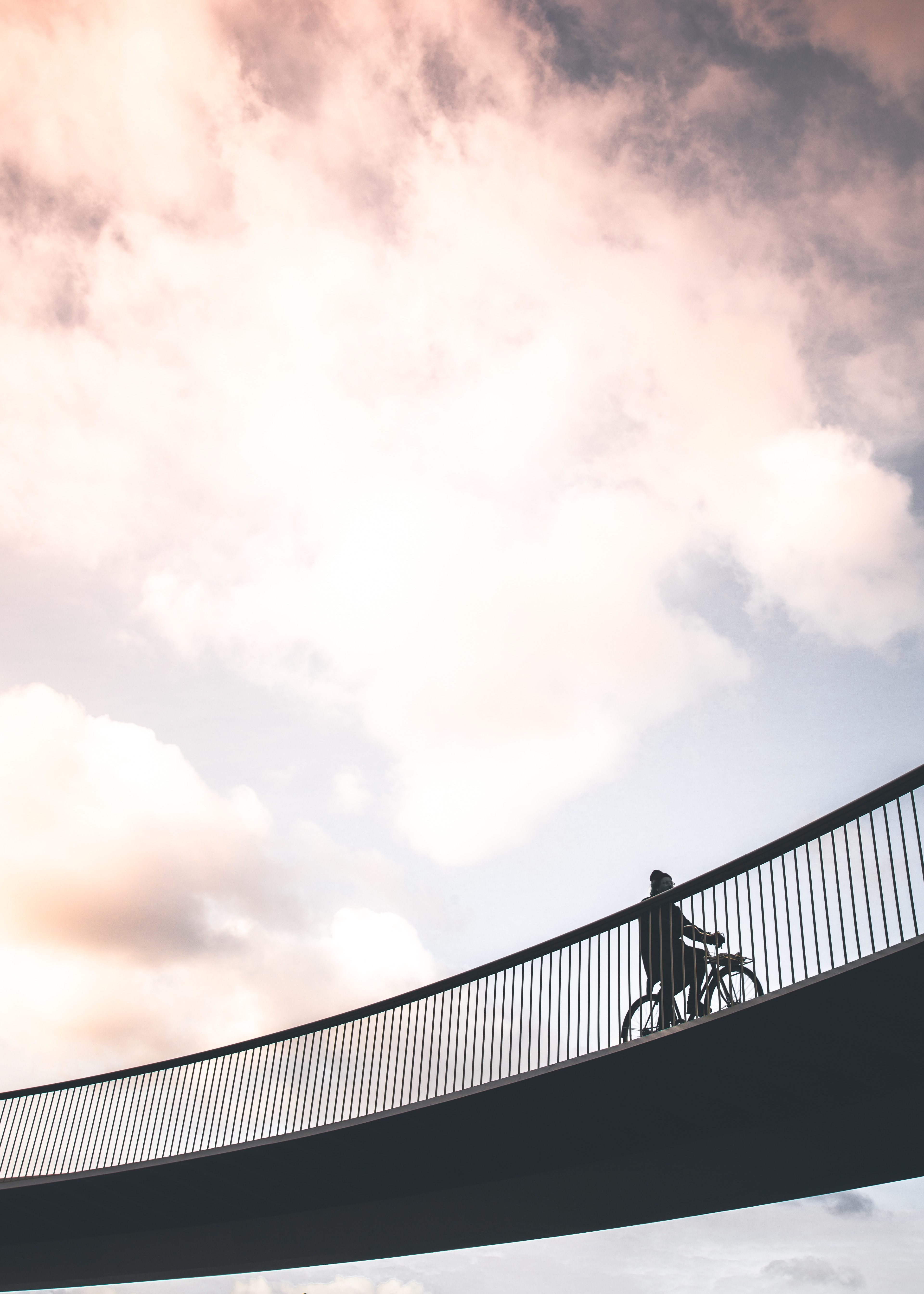 156160 Screensavers and Wallpapers Bridge for phone. Download Sky, Minimalism, Bridge, Cyclist pictures for free