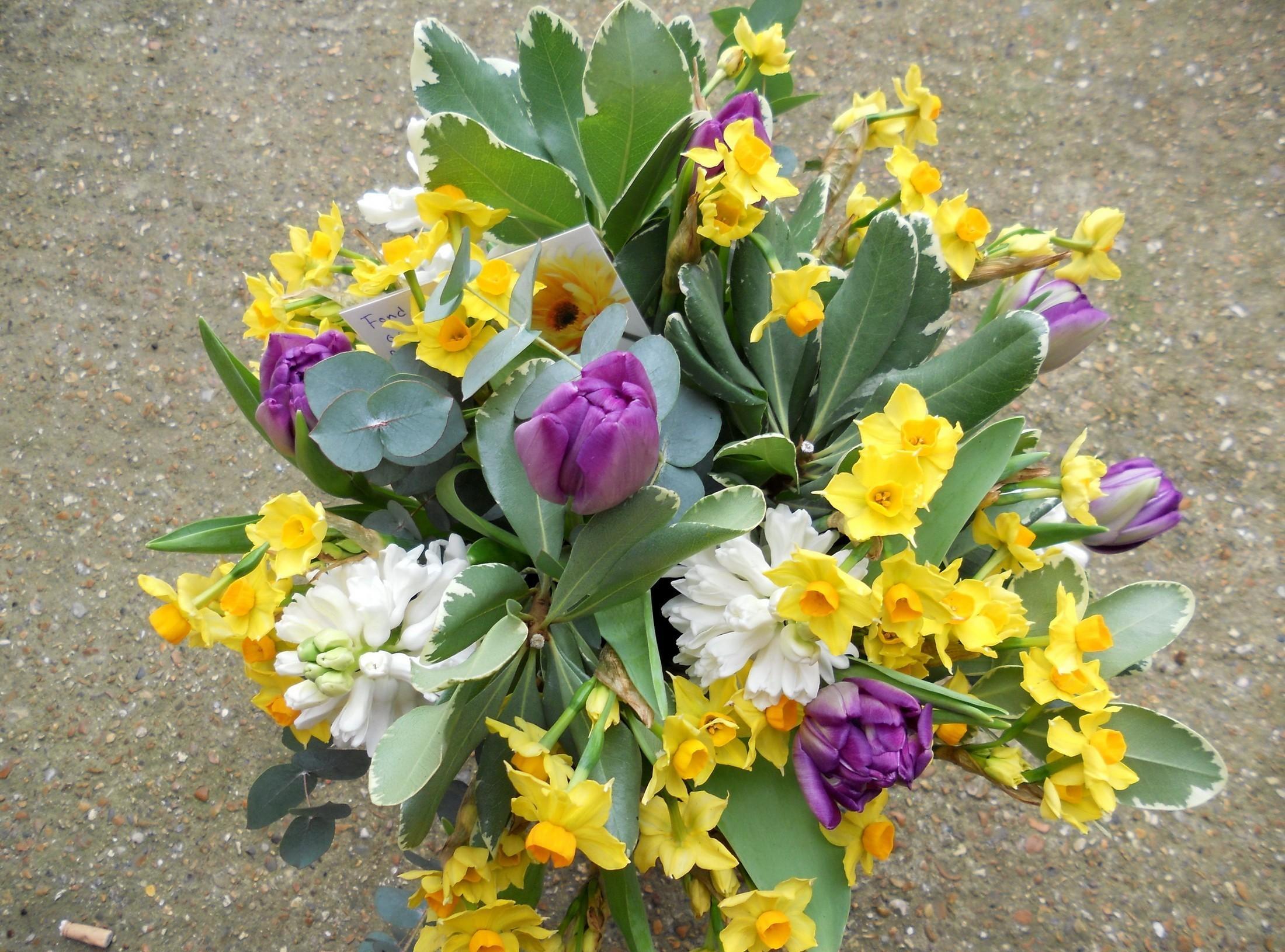 123814 скачать обои Цветы, Букет, Листья, Записка, Тюльпаны, Нарциссы - заставки и картинки бесплатно