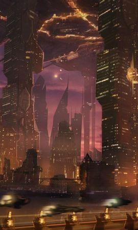 88584 descargar fondo de pantalla Fantasía, Ciudad, Rascacielos, Camino, Transporte, Vuelo: protectores de pantalla e imágenes gratis