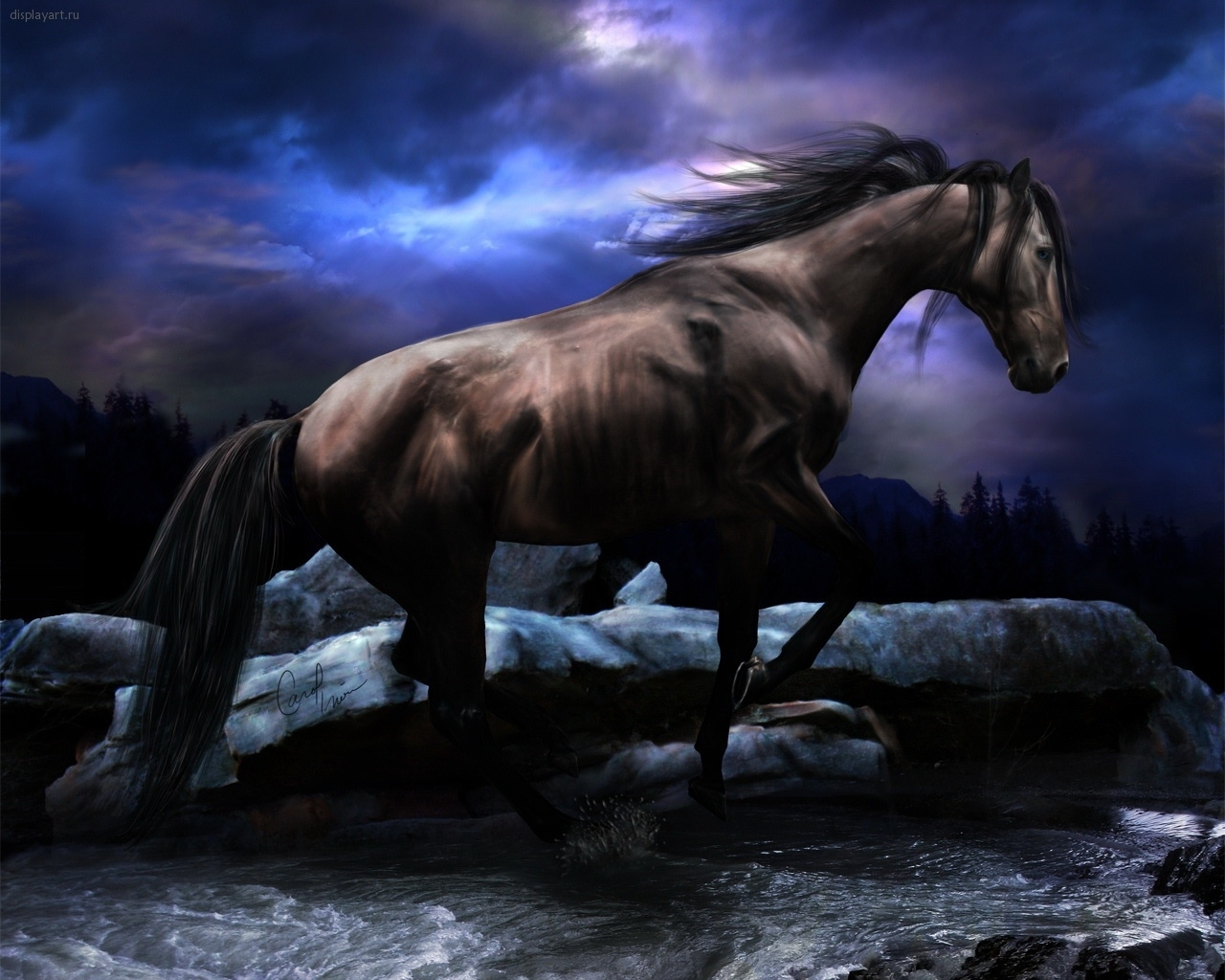 7859 download wallpaper Animals, Landscape, Horses, Clouds screensavers and pictures for free