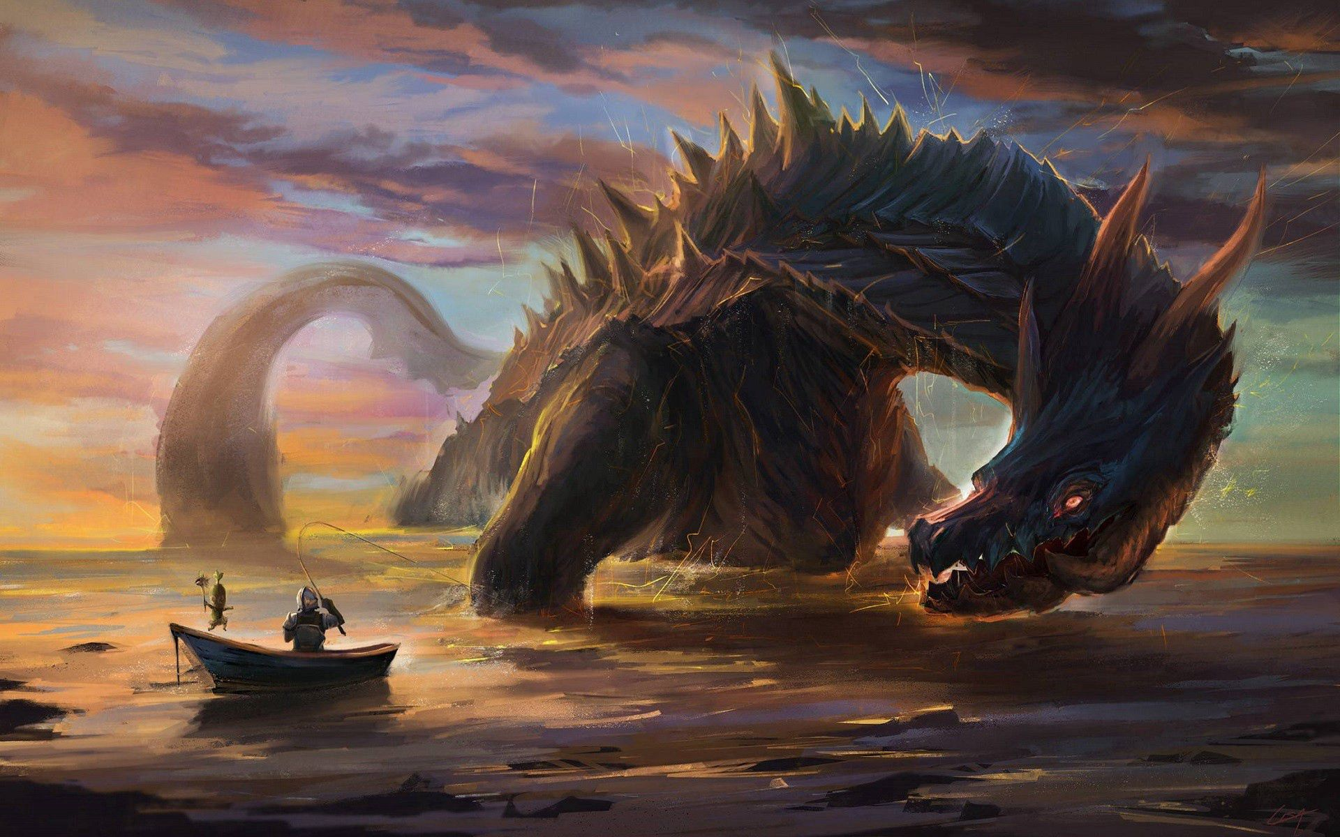 146389 Screensavers and Wallpapers Boat for phone. Download Fantasy, Art, Boat, Dragon, Knight pictures for free