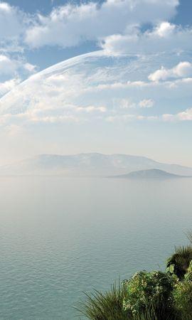 21420 скачать обои Пейзаж, Трава, Горы, Облака, Озера - заставки и картинки бесплатно