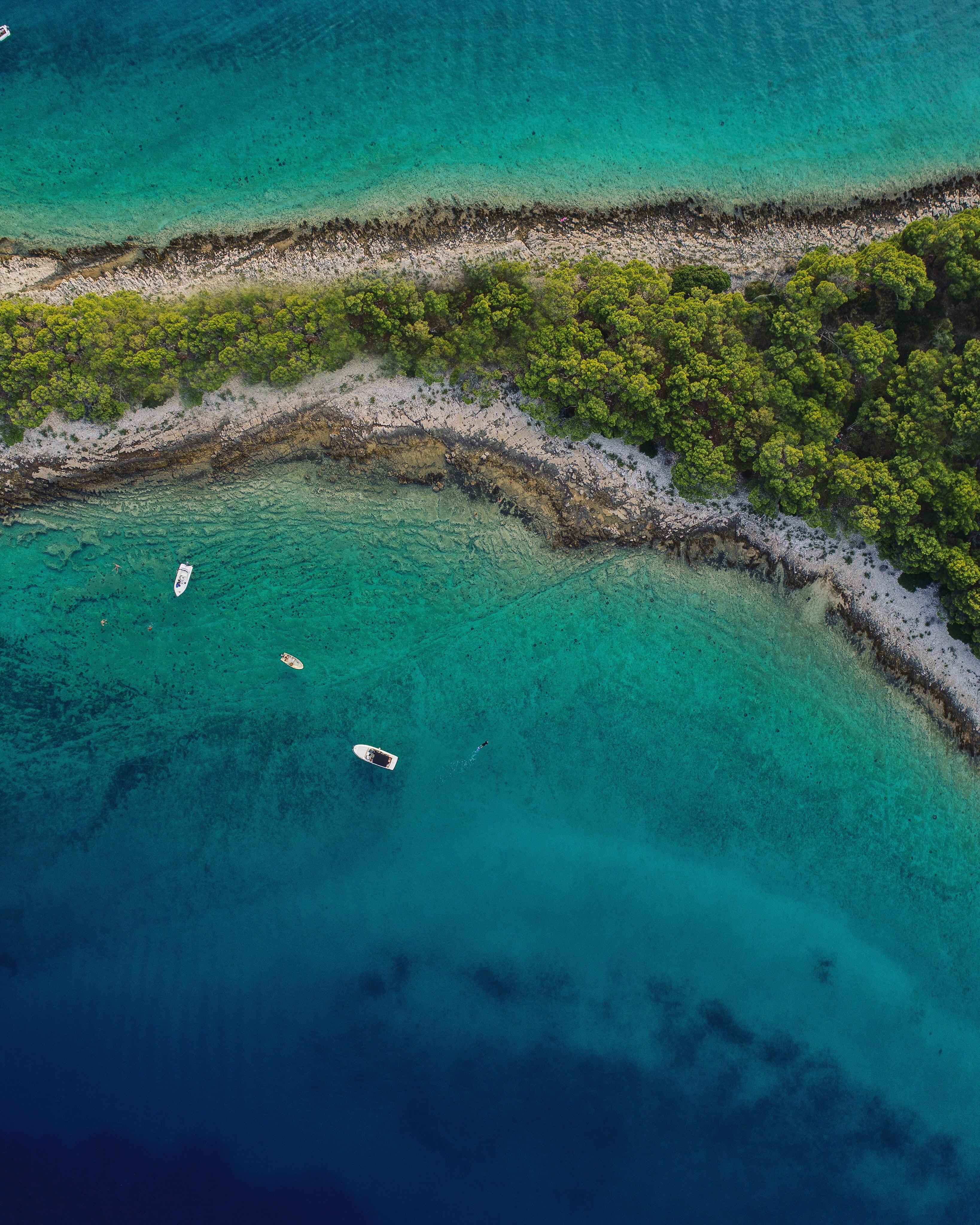 143995 Заставки и Обои Лодки на телефон. Скачать Природа, Море, Остров, Вид Сверху, Лодки, Пляж картинки бесплатно