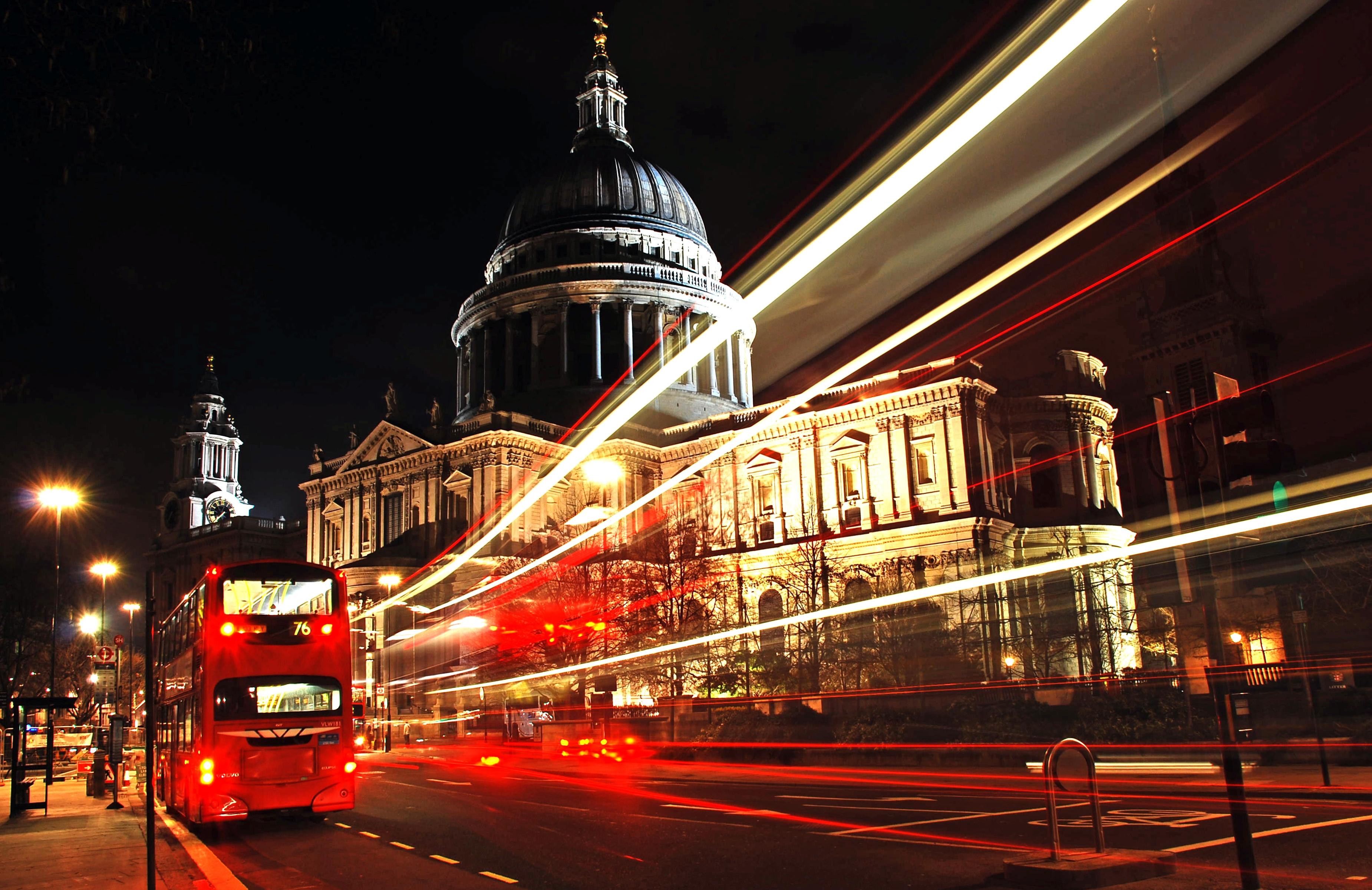 108707 Hintergrundbild herunterladen Städte, Übernachtung, London, Stadt, Bus - Bildschirmschoner und Bilder kostenlos