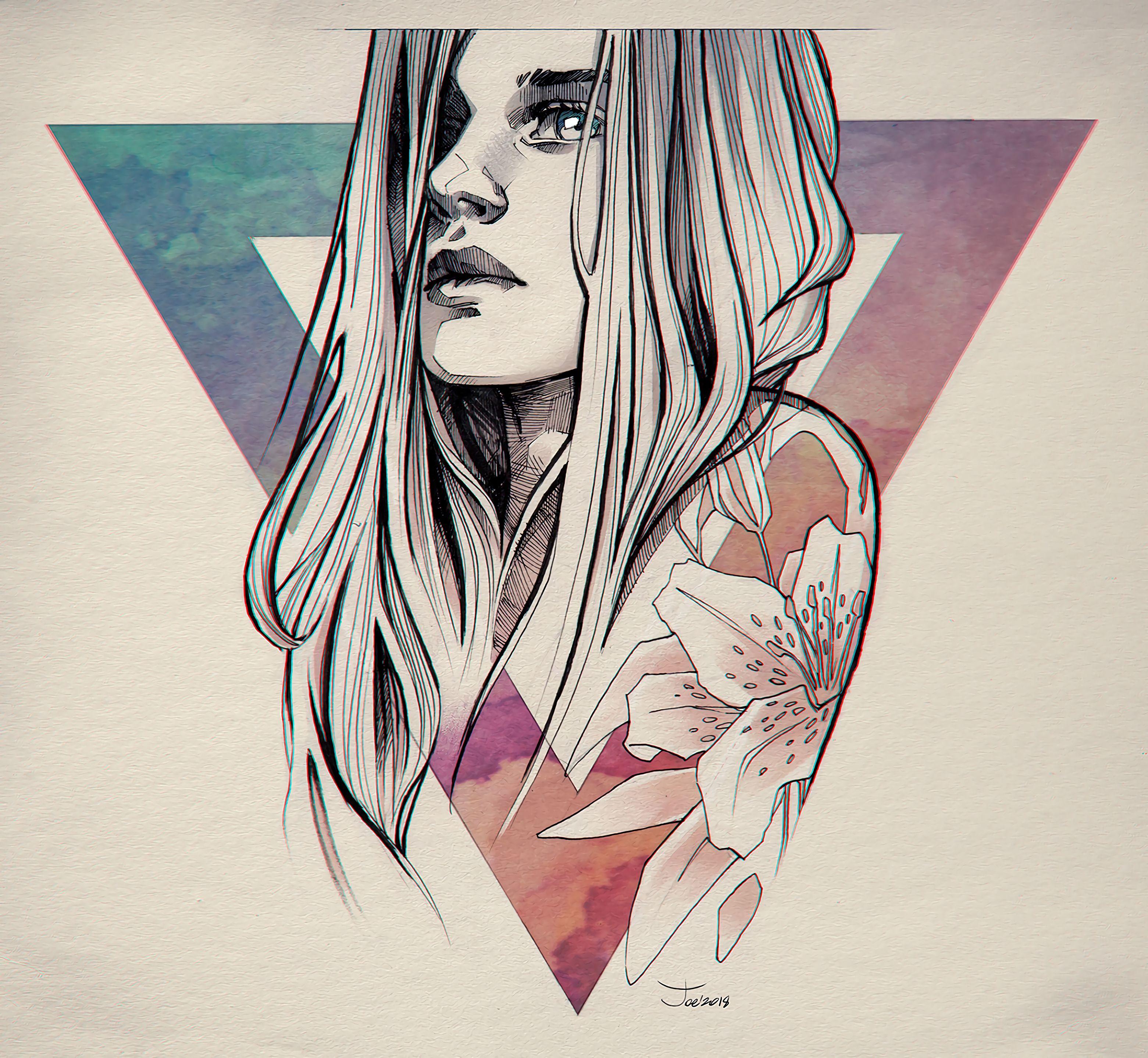 98293 скачать обои Девушка, Арт, Портрет, Лицо, Треугольник - заставки и картинки бесплатно