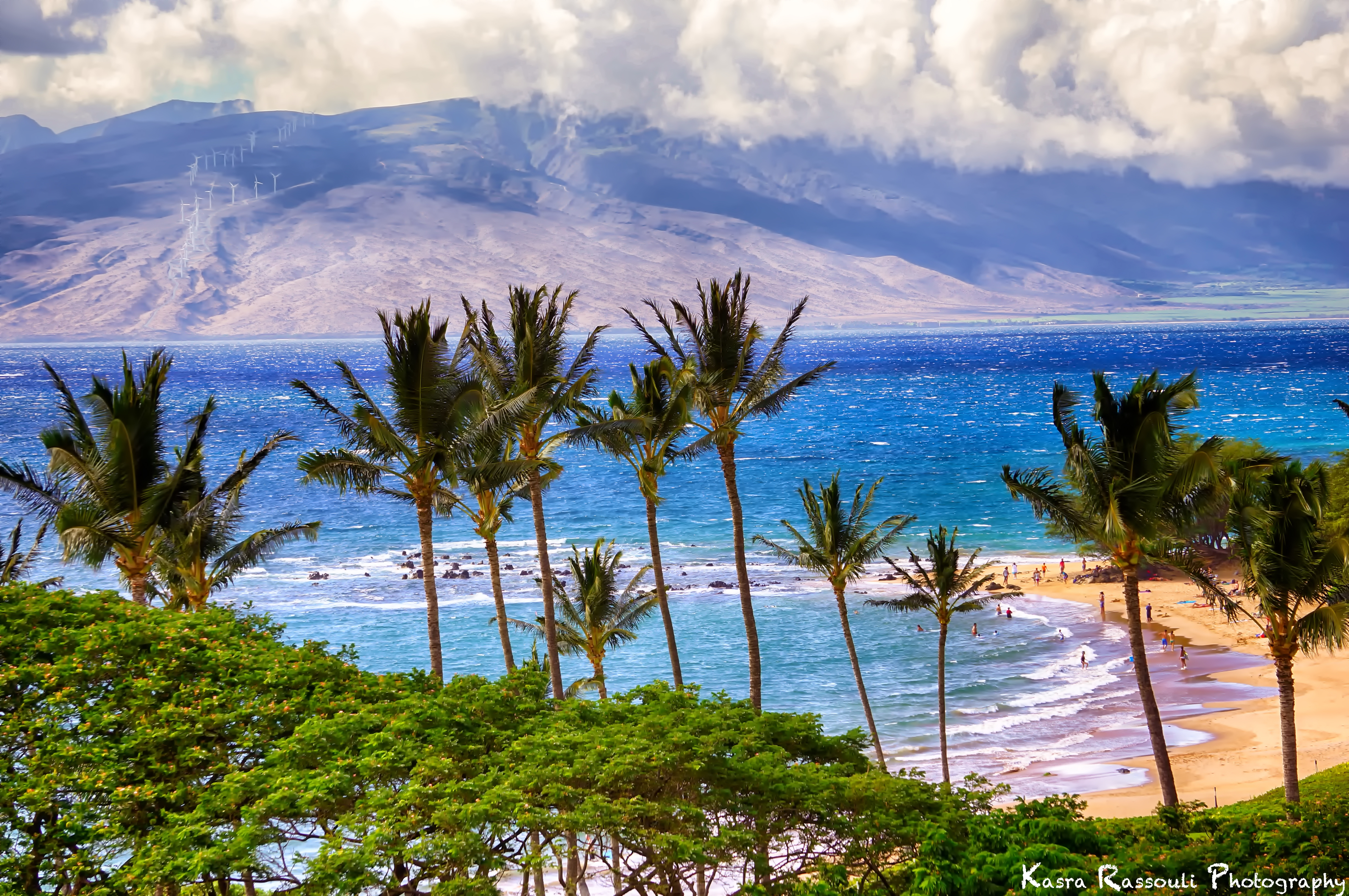 115049 download wallpaper Nature, Sea, Beach, Mountains, Palms screensavers and pictures for free