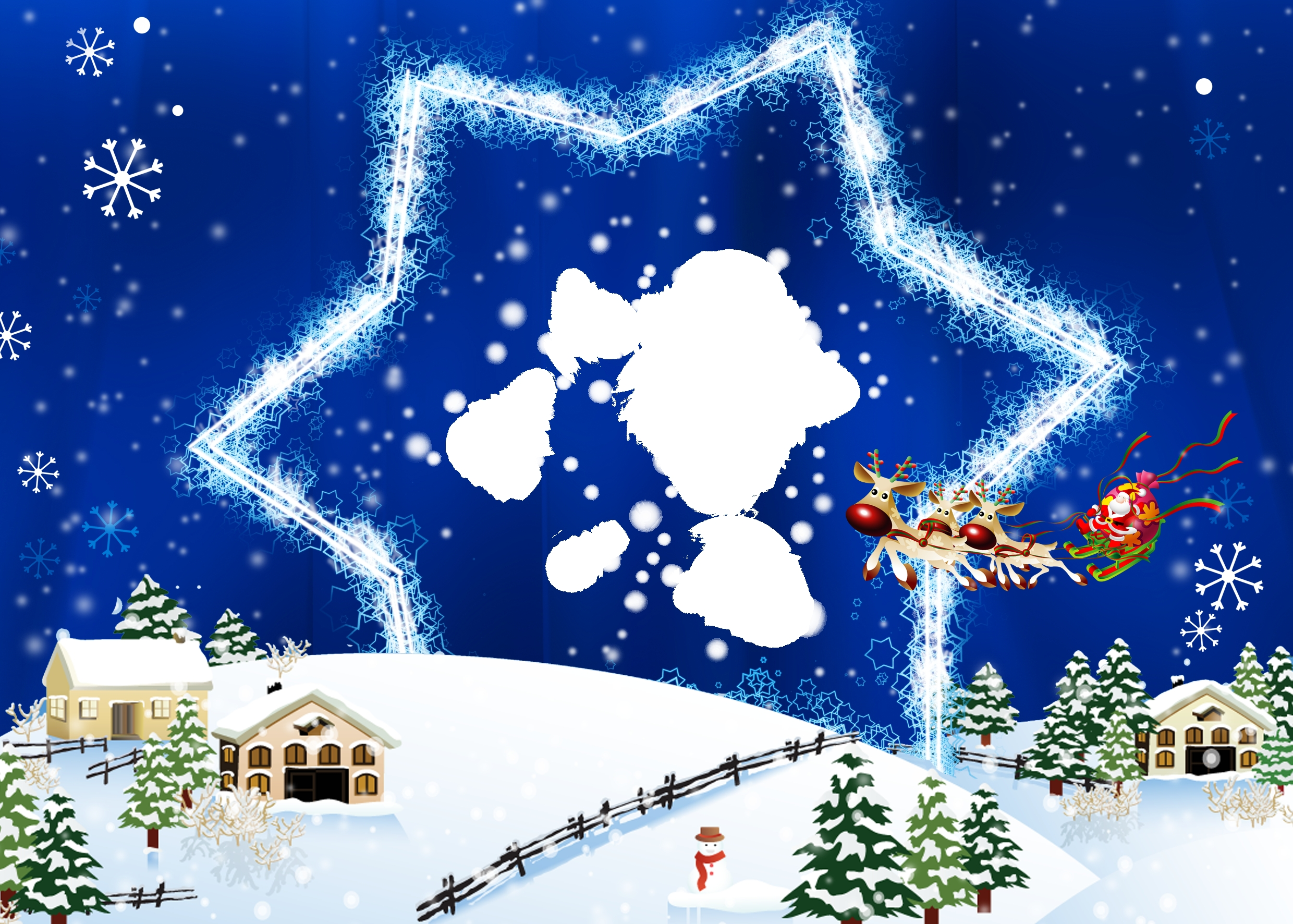 65360 download wallpaper Holidays, New Year, Christmas, Postcard, Star, Deers, Santa Claus, Flight, Colorfully, Graphically screensavers and pictures for free