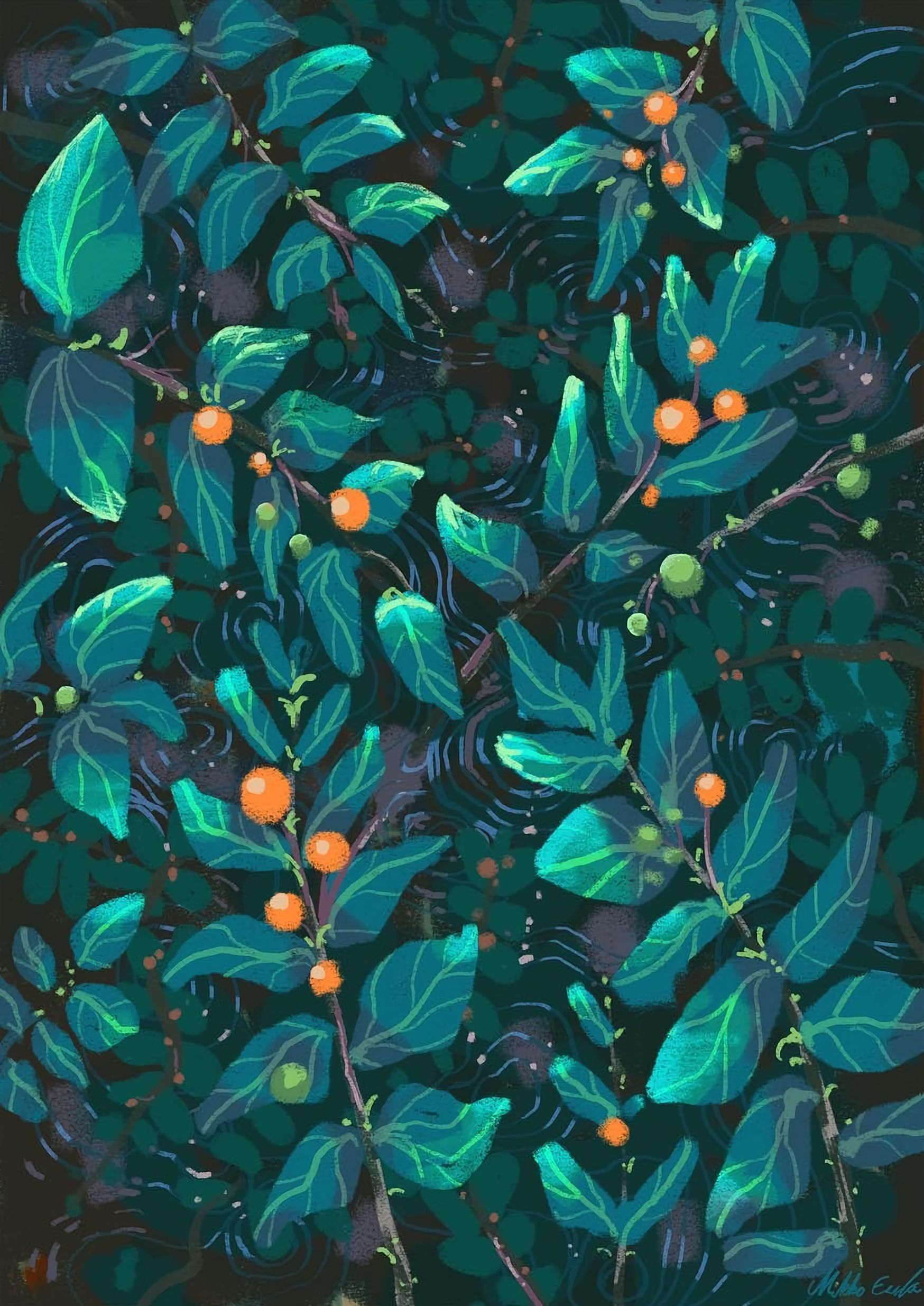 127678 download wallpaper Art, Leaves, Berries, Patterns, Texture, Textures, Paint screensavers and pictures for free