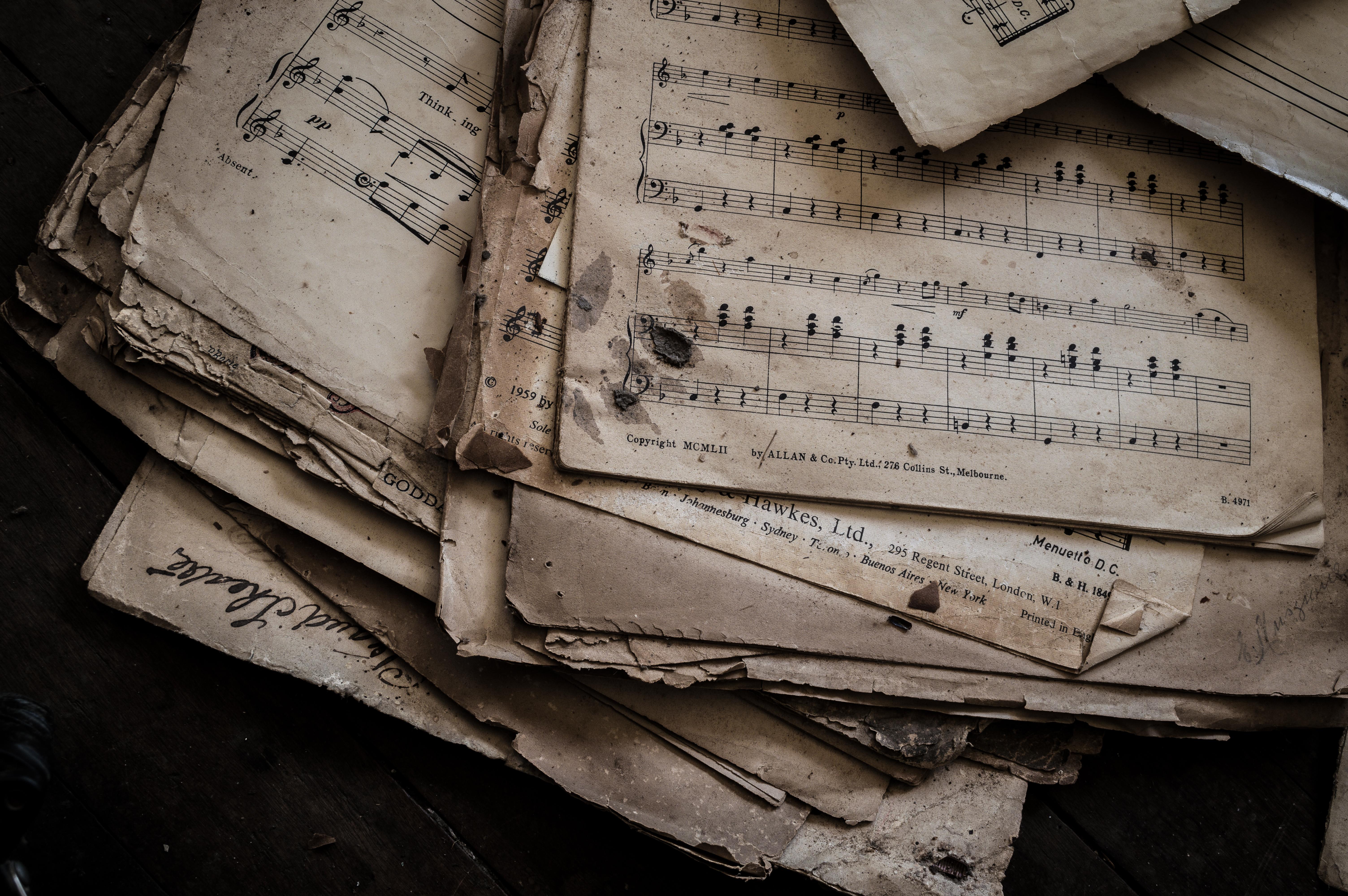 126524 baixar papel de parede Música, Papel, Notas, Sujo - protetores de tela e imagens gratuitamente