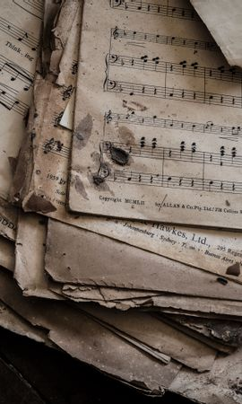 Free wallpaper 126524: Music, Notes, Dirty, Paper download pictures for cellphone