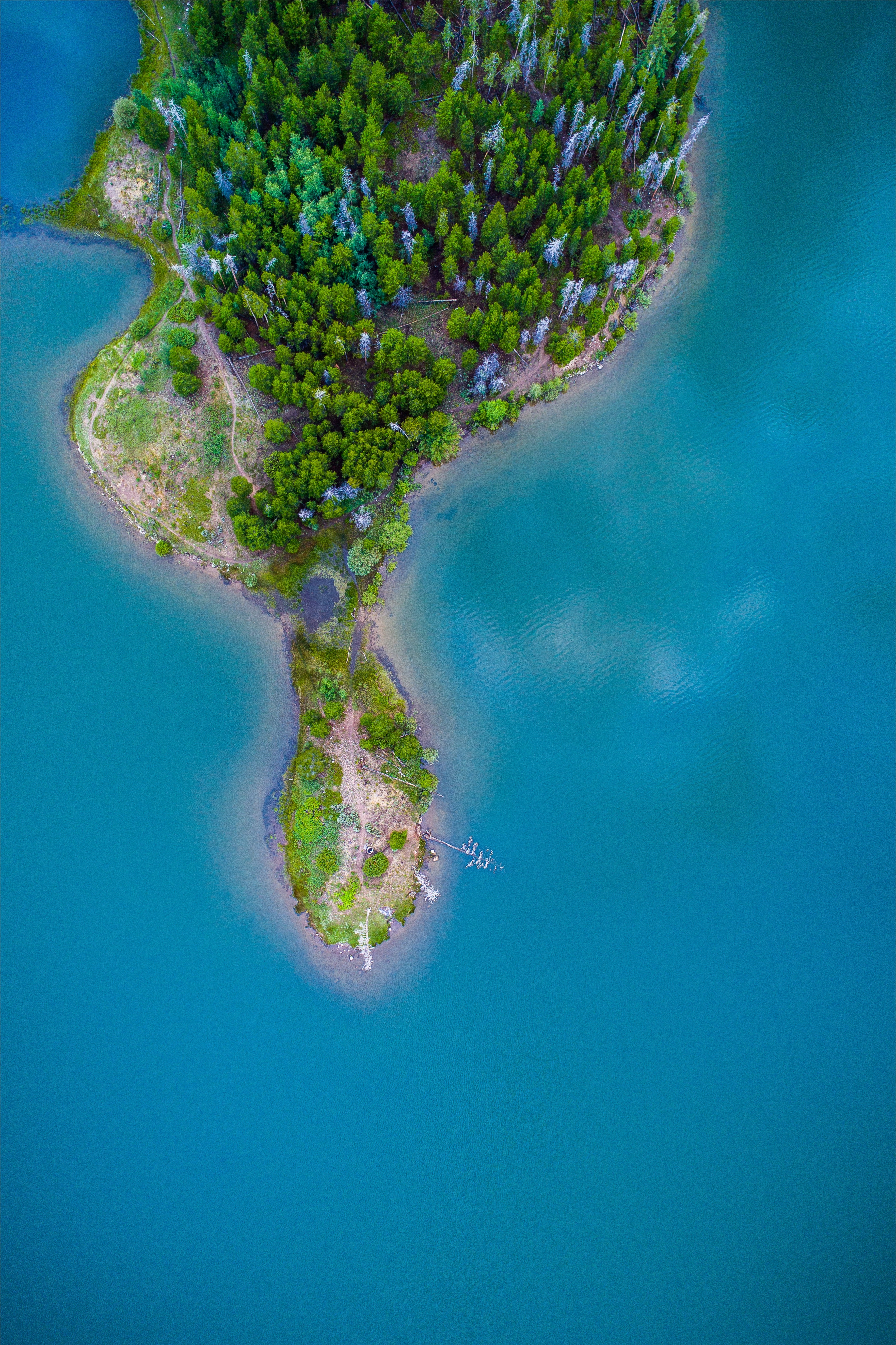 154216 Screensavers and Wallpapers Island for phone. Download Nature, Trees, View From Above, Ocean, Island, Paradise pictures for free