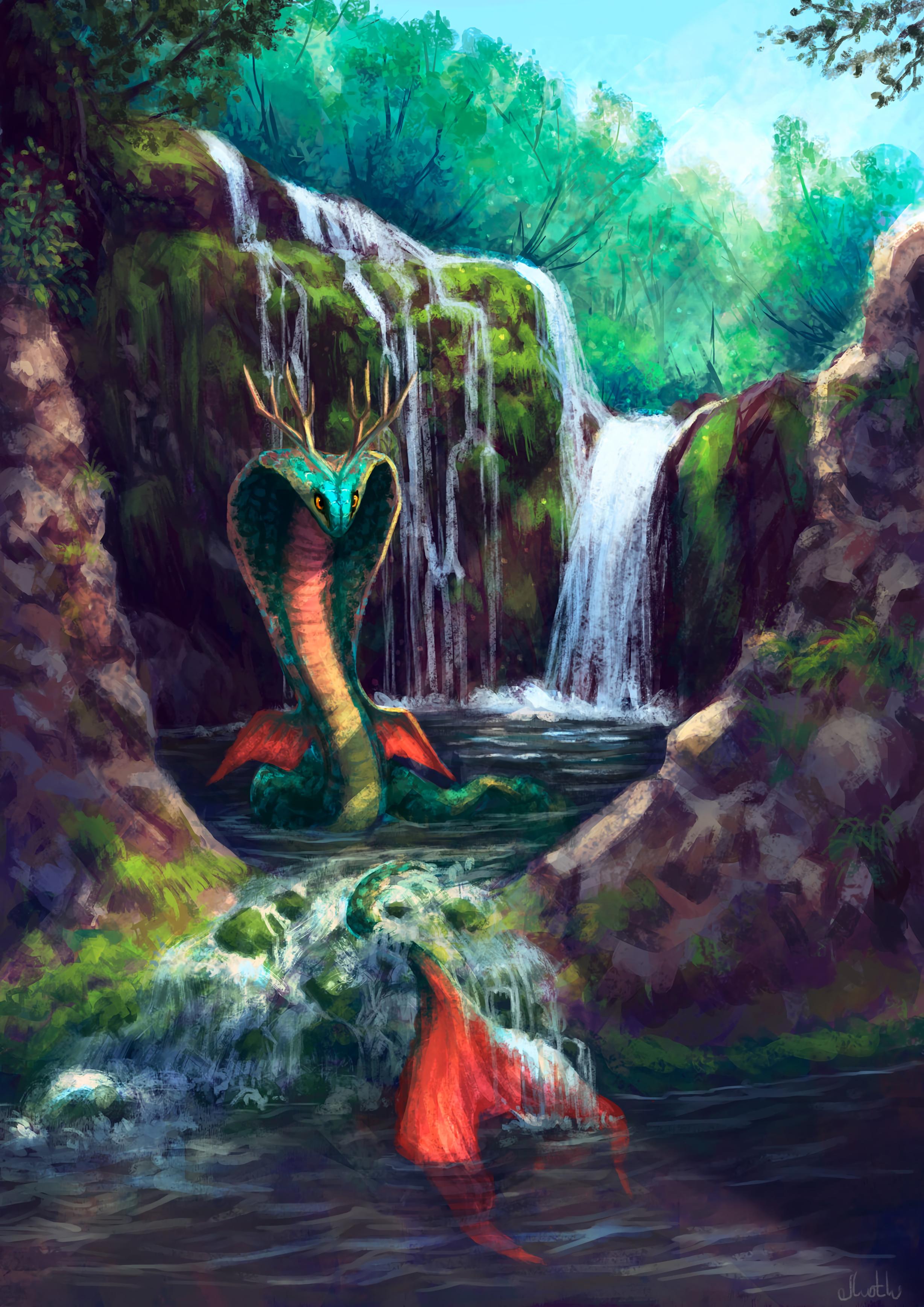93679 скачать обои Змеи, Арт, Водопад, Существо, Фантастика - заставки и картинки бесплатно