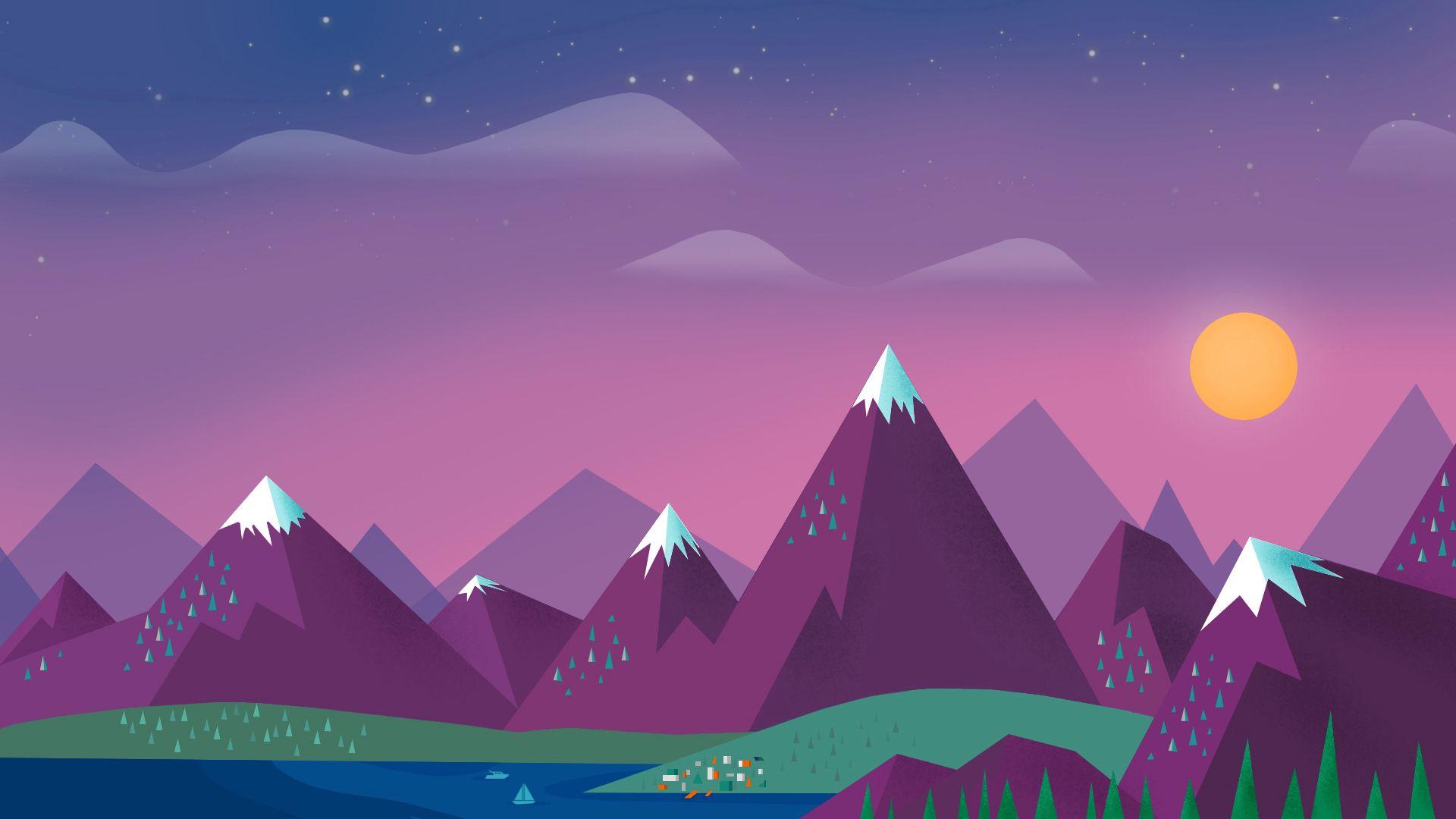 124107 Protetores de tela e papéis de parede Montanhas em seu telefone. Baixe Céu, Minimalismo, Paisagem, Montanhas, Sol, Nuvens, Vetor, Lago fotos gratuitamente