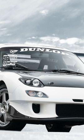 109645 скачать Белые обои на телефон бесплатно, Тачки (Cars), Rx-7, Мазда (Mazda), Dunlop Белые картинки и заставки на мобильный