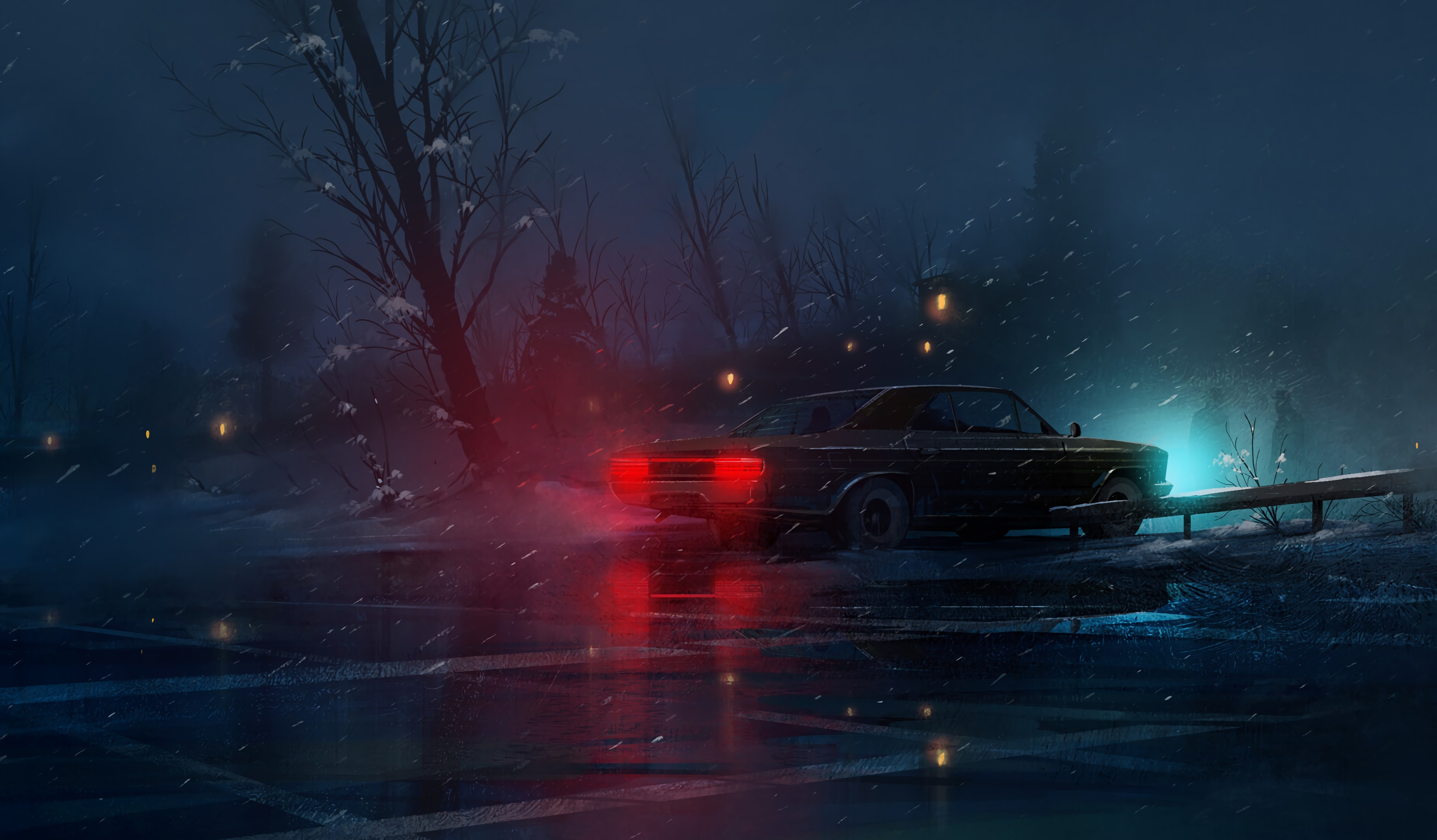 120730 download wallpaper Light, Art, Night, Snow, Shine, Car, Machine screensavers and pictures for free