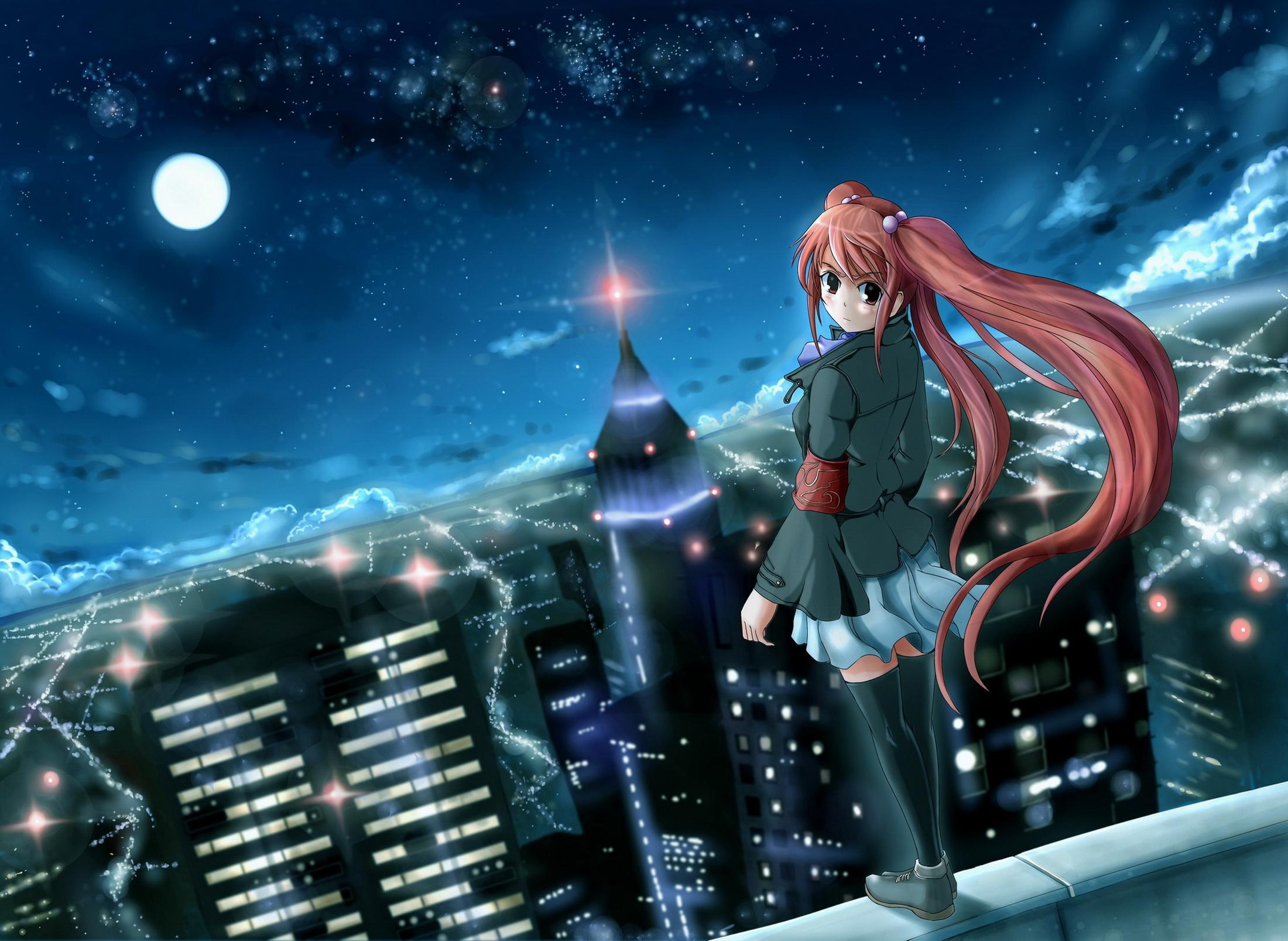 Скачать картинку Аниме, Ночь, Город, Девушка в телефон бесплатно.