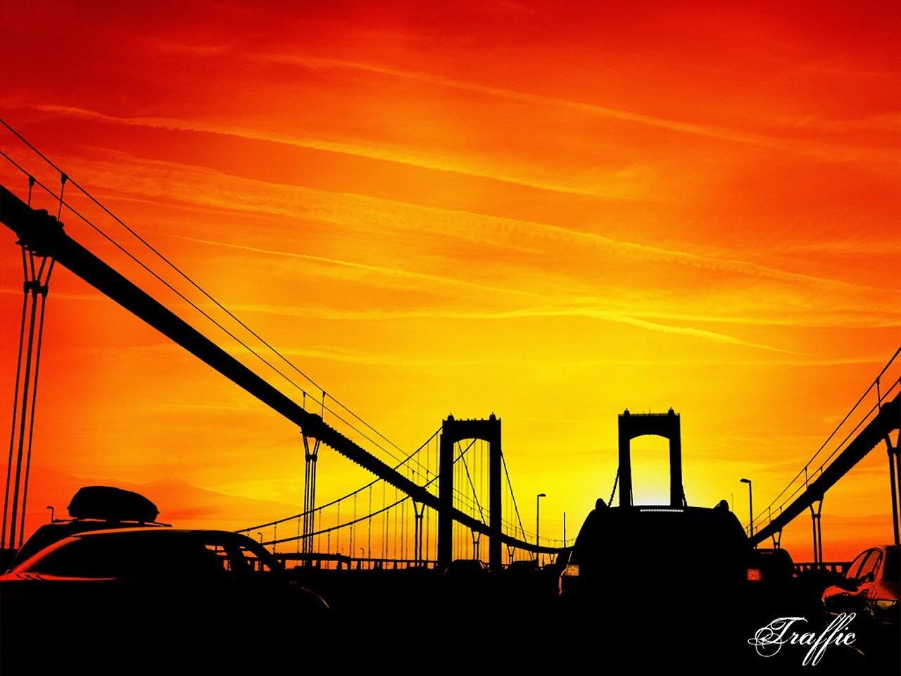 9943 скачать обои Пейзаж, Мосты, Закат, Небо, Рисунки - заставки и картинки бесплатно