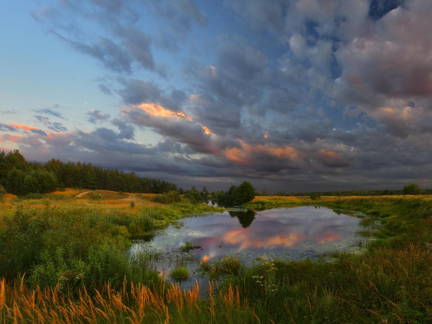 27721 скачать обои Пейзаж, Река, Поля, Небо, Облака - заставки и картинки бесплатно