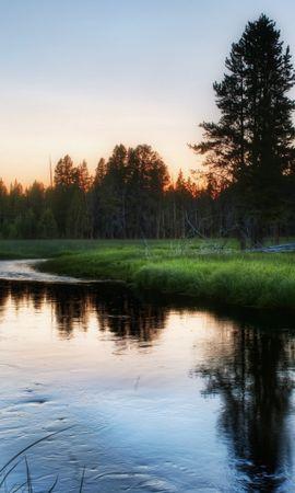 21935 скачать обои Пейзаж, Река, Деревья, Закат, Трава - заставки и картинки бесплатно