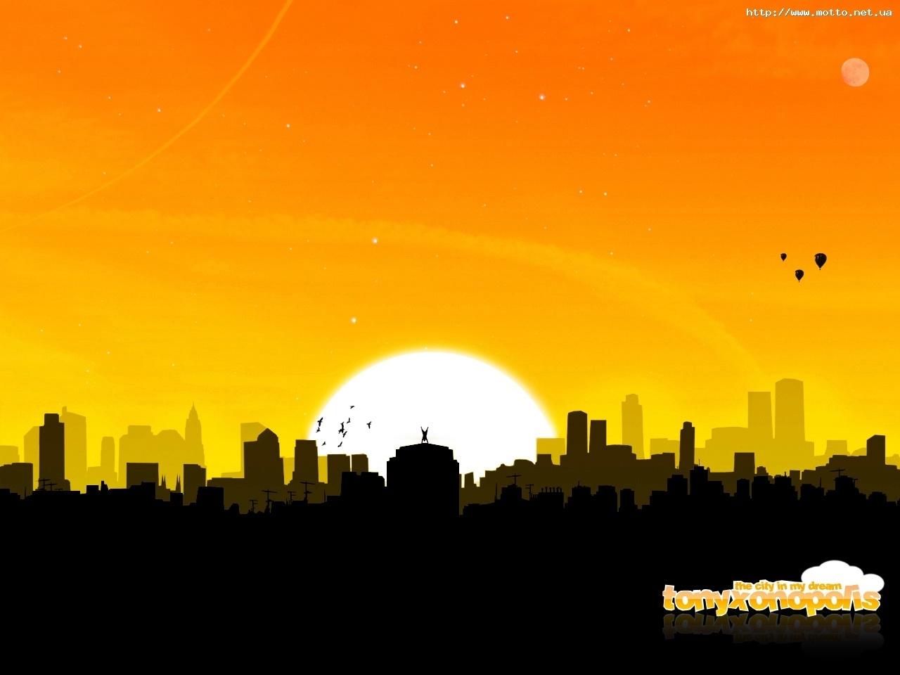 5367 скачать обои Закат, Небо, Солнце, Рисунки - заставки и картинки бесплатно