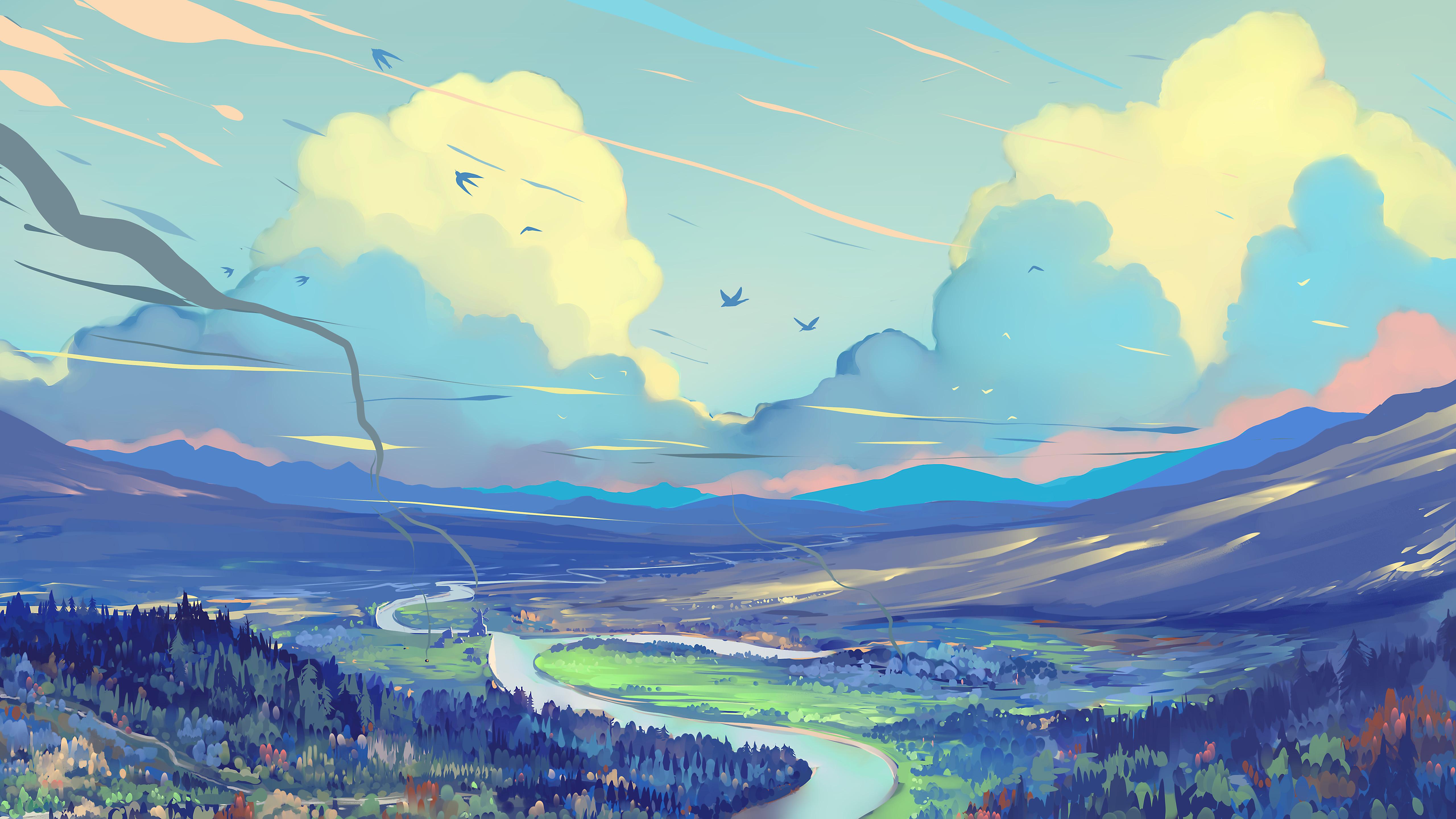 157784 Protetores de tela e papéis de parede Montanhas em seu telefone. Baixe Paisagem, Céu, Arte, Montanhas, Estrada, Caminho fotos gratuitamente