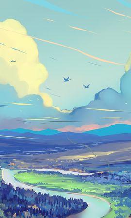 157784 télécharger le fond d'écran Art, Route, Sky, Montagnes, Paysage - économiseurs d'écran et images gratuitement