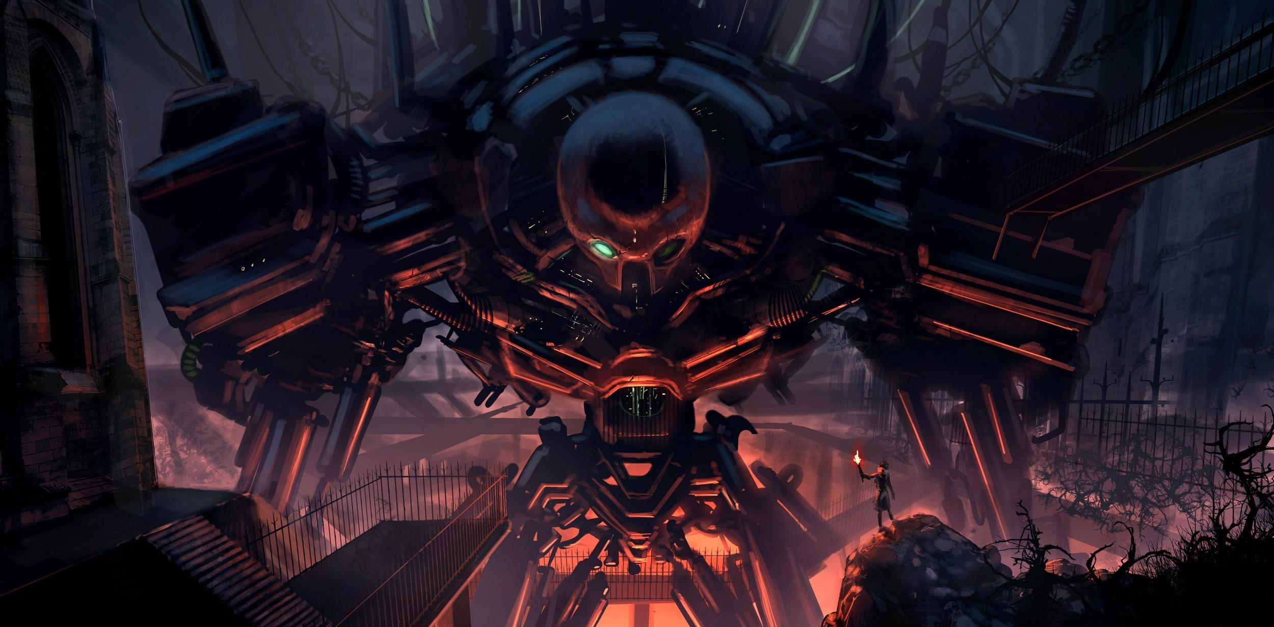 73510 Screensavers and Wallpapers Robot for phone. Download Fantasy, Chains, Break, Precipice, Human, Person, Robot, Cyborg, Torch pictures for free