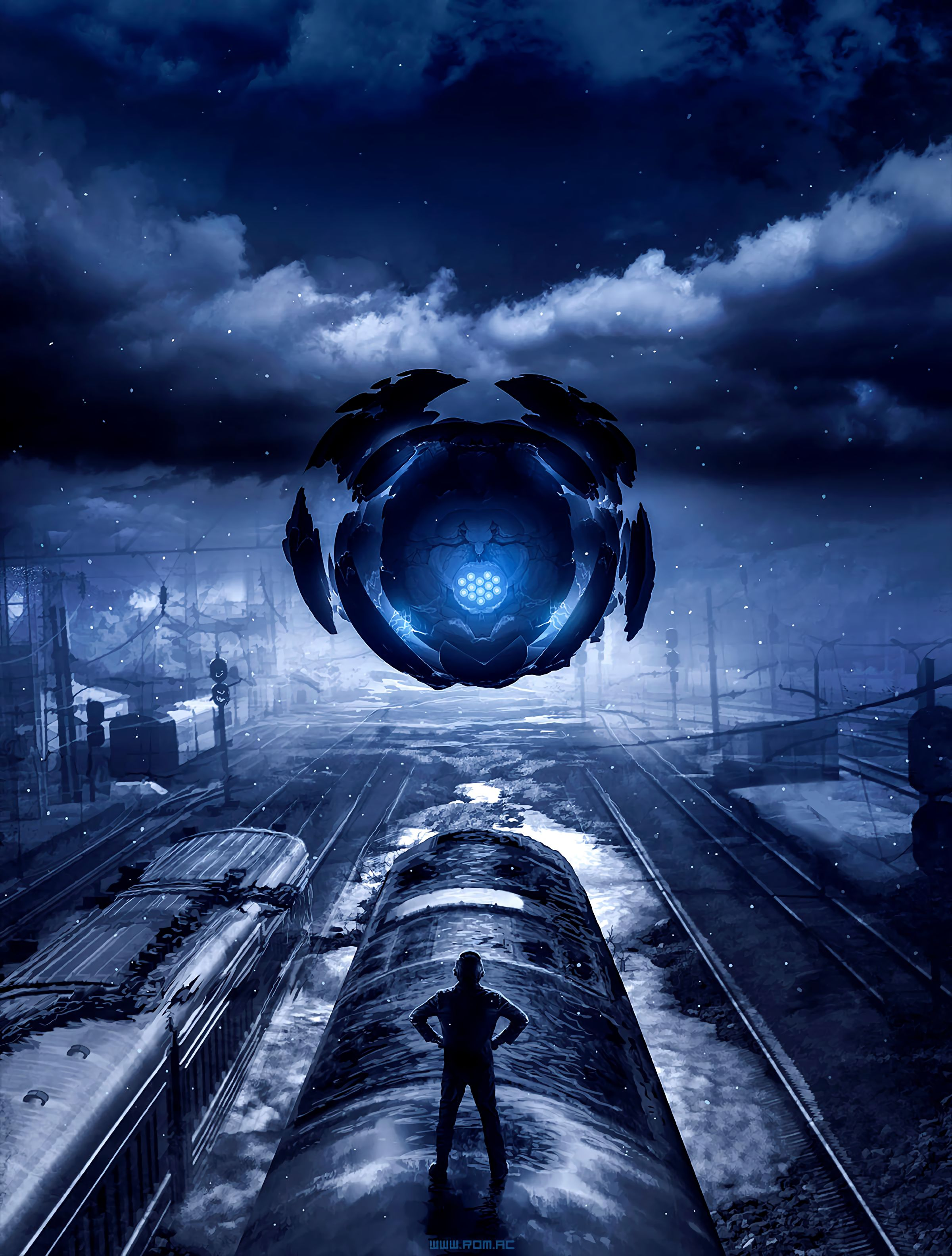 141770 Screensavers and Wallpapers Train for phone. Download Art, Silhouette, Cyberpunk, Railway, Train, Portal pictures for free