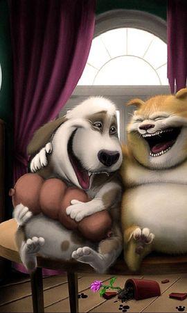 87869 скачать обои Собака, Кот, Арт, Юмор, Аквариум - заставки и картинки бесплатно