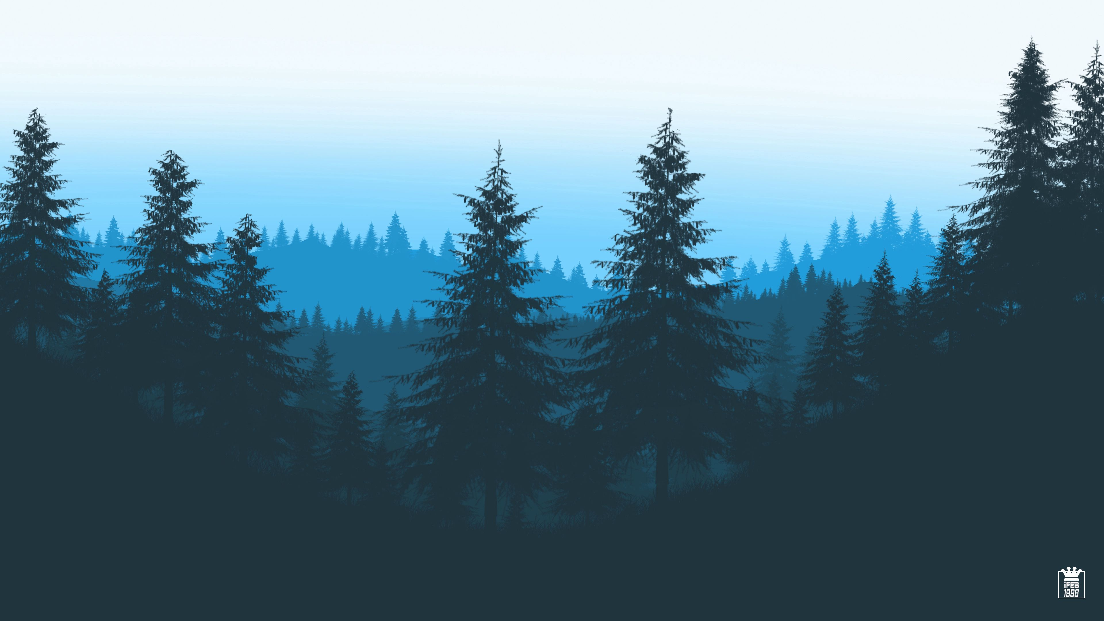 105353 download wallpaper Trees, Art, Mountains, Vector, Forest screensavers and pictures for free