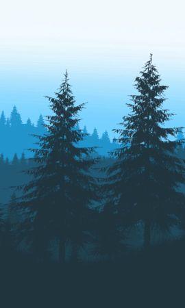 105353 Заставки и Обои Вектор на телефон. Скачать Вектор, Лес, Деревья, Арт, Горы картинки бесплатно