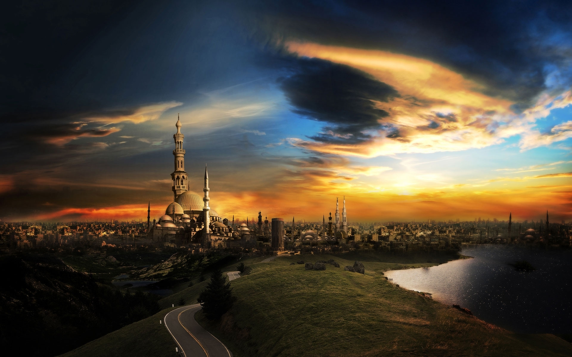 1392 download wallpaper Landscape, Cities, Sky, Art, Architecture screensavers and pictures for free