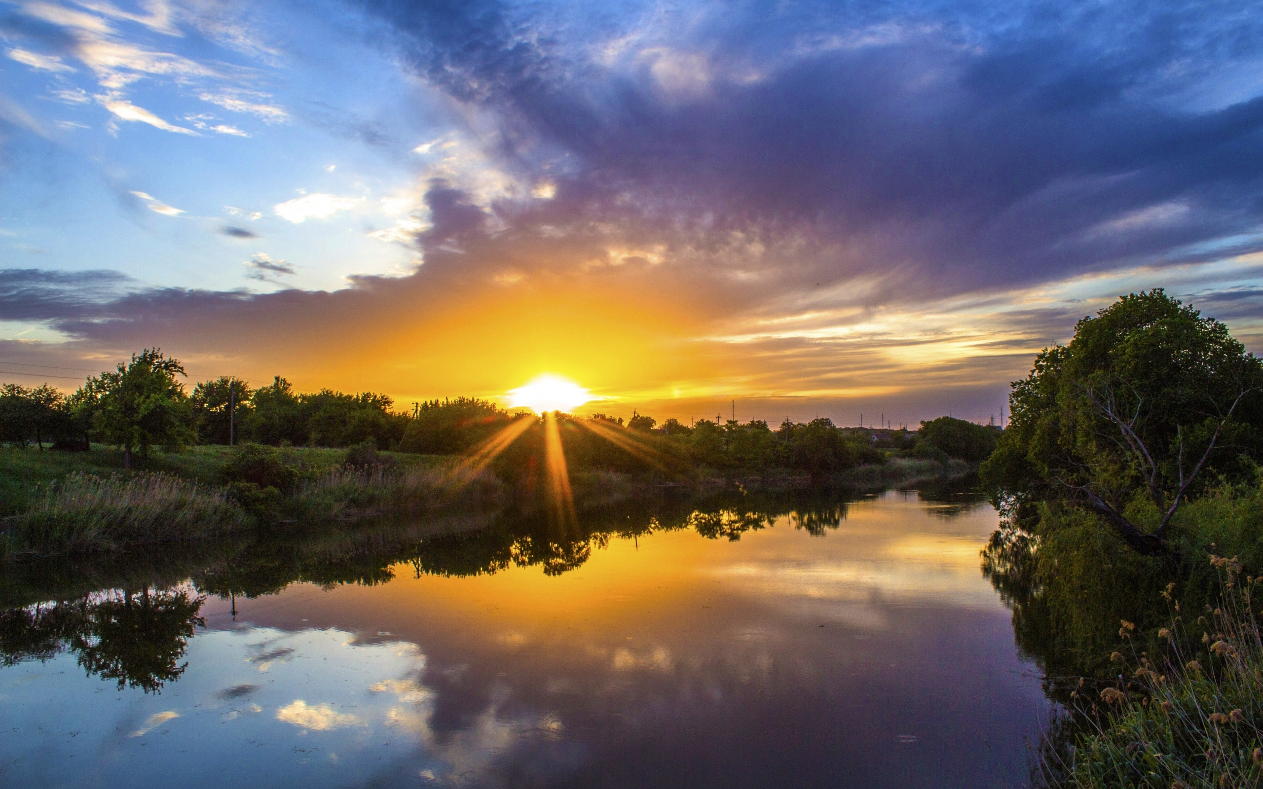 27272 download wallpaper Landscape, Rivers, Sunset, Sky, Clouds screensavers and pictures for free