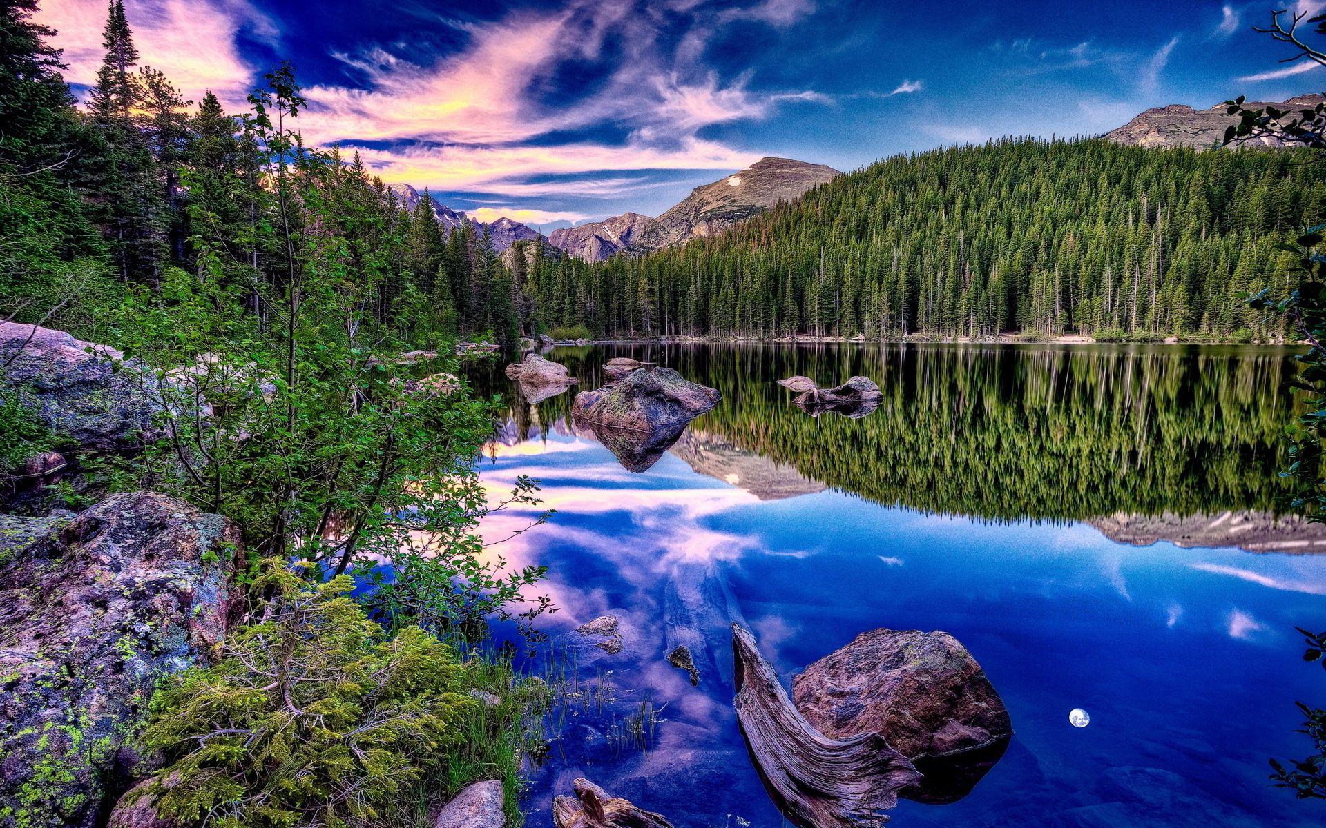 94911 скачать обои Небо, Лес, Камни, Отражение, Берег, Зеркало, Природа, Горы, Облака, Озеро, Ярко, Коряга, Контраст - заставки и картинки бесплатно