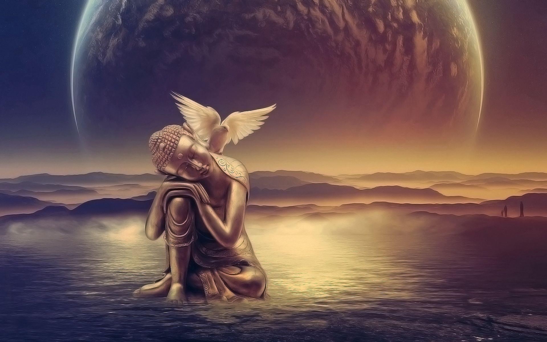 147034 Hintergrundbild herunterladen Engel, Wasser, Kunst, Vogel, Flügel - Bildschirmschoner und Bilder kostenlos